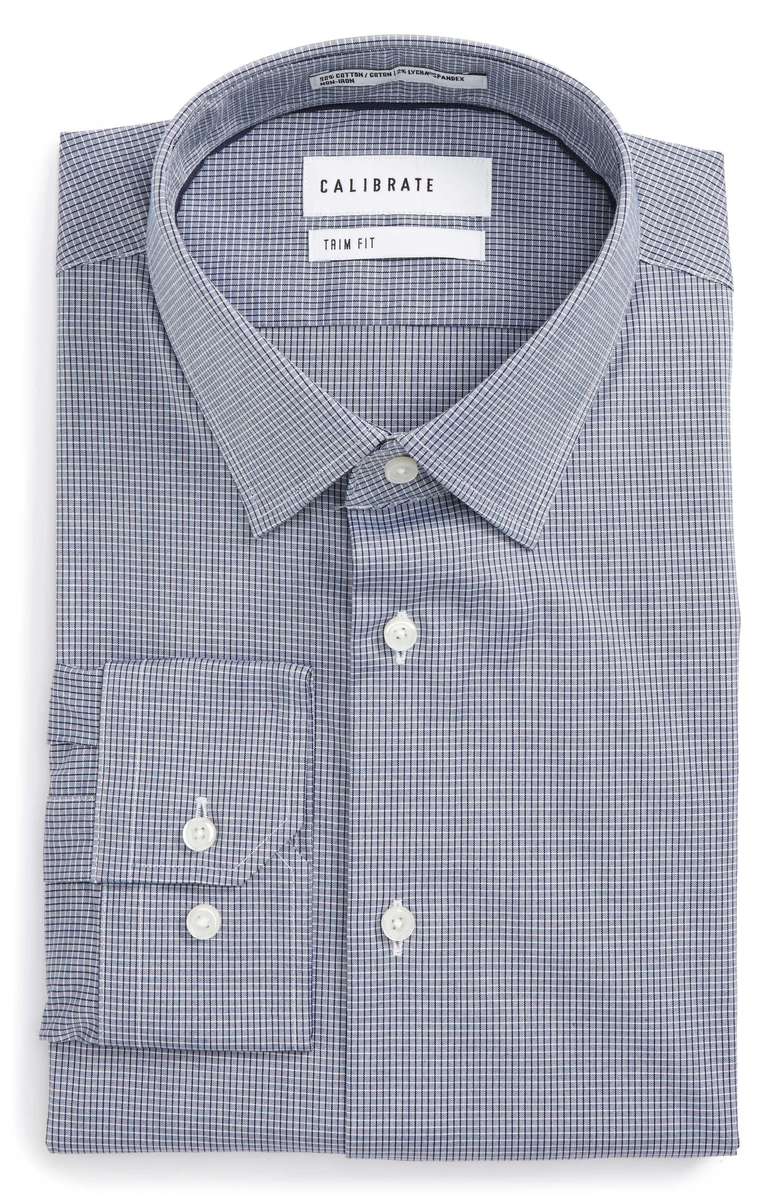 Trim Fit Stretch No-Iron Check Dress Shirt,                             Main thumbnail 1, color,                             410