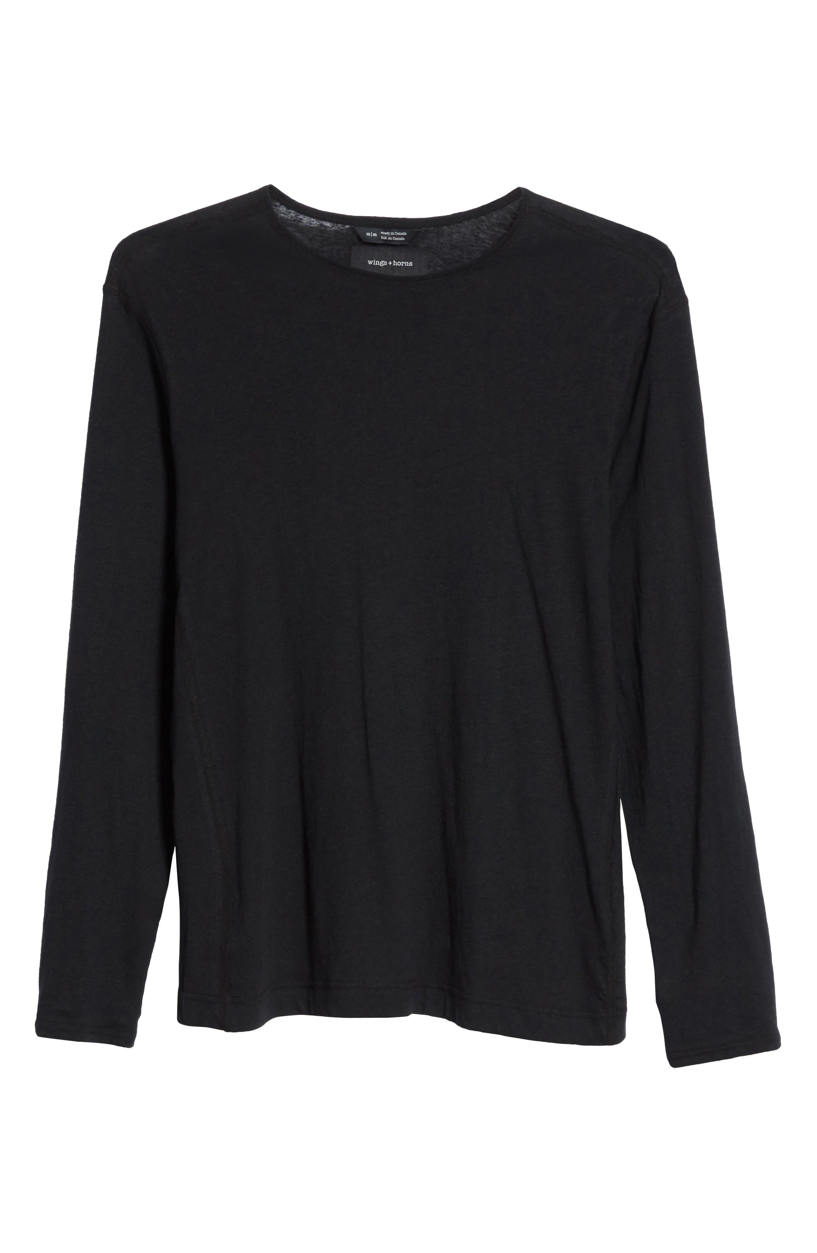Linen Blend Jersey Long Sleeve T-Shirt,                             Alternate thumbnail 6, color,                             001