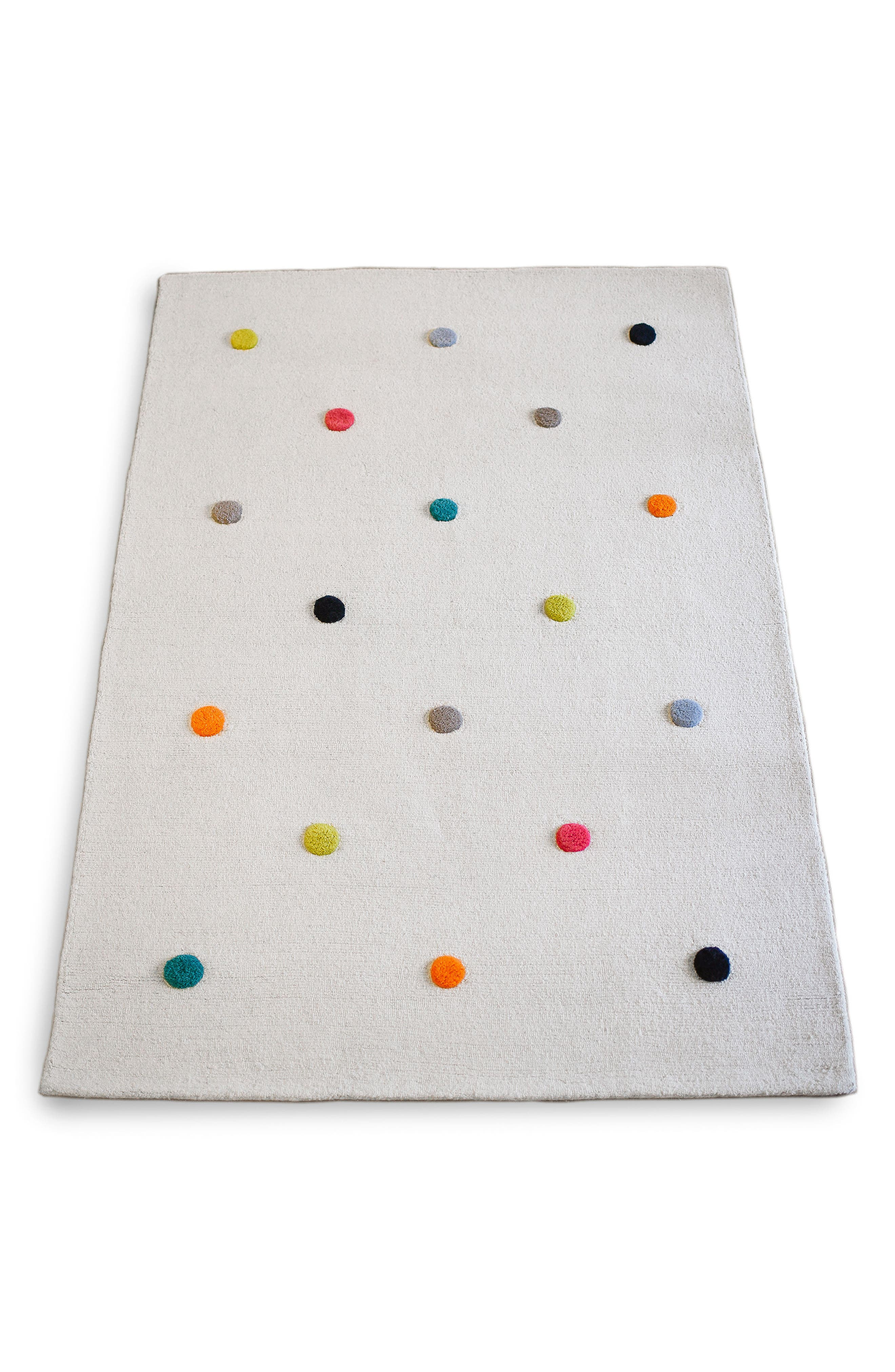 Multicolor Pompom Wool Rug,                             Main thumbnail 1, color,                             100