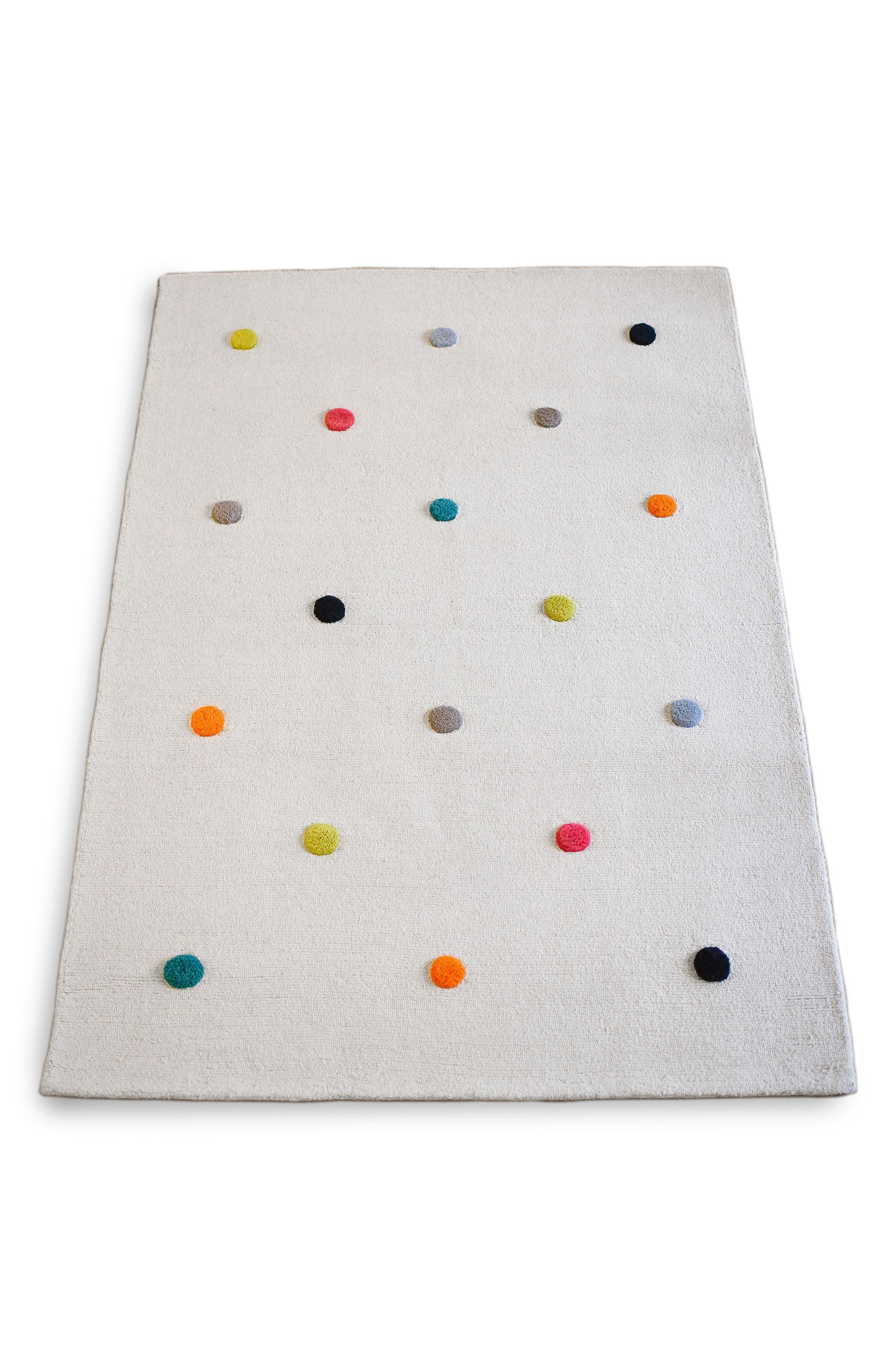 Multicolor Pompom Wool Rug,                         Main,                         color, 100