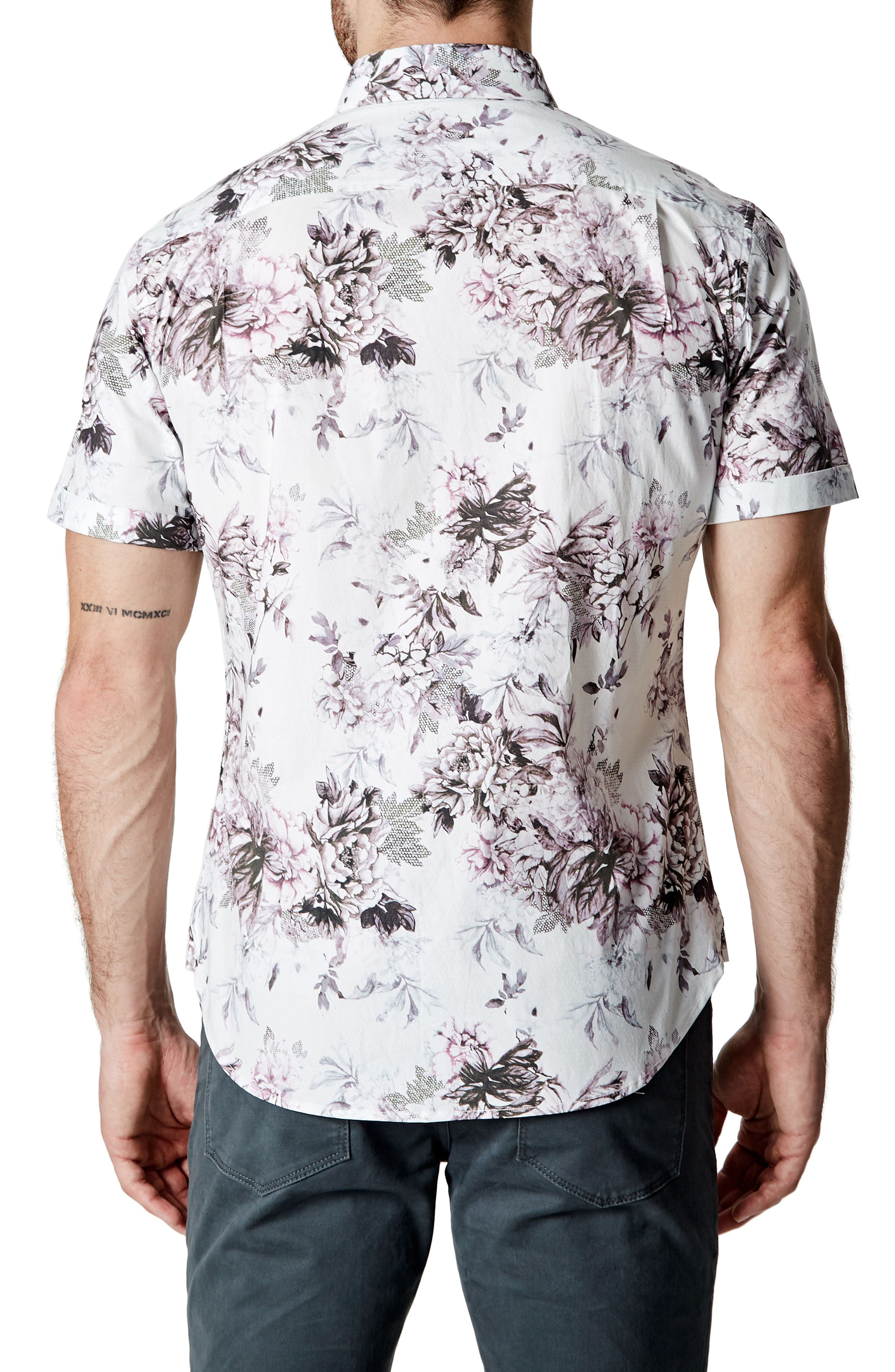 Aura Floral Sport Shirt,                             Alternate thumbnail 2, color,                             100