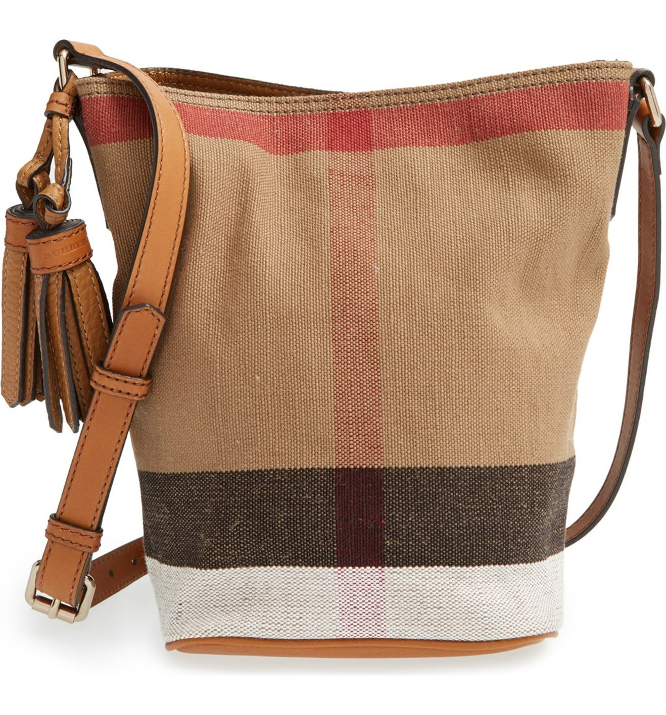 Burberry Brit  Mini Ashby  Canvas Check Crossbody Bucket Bag   Nordstrom 047f5c5814