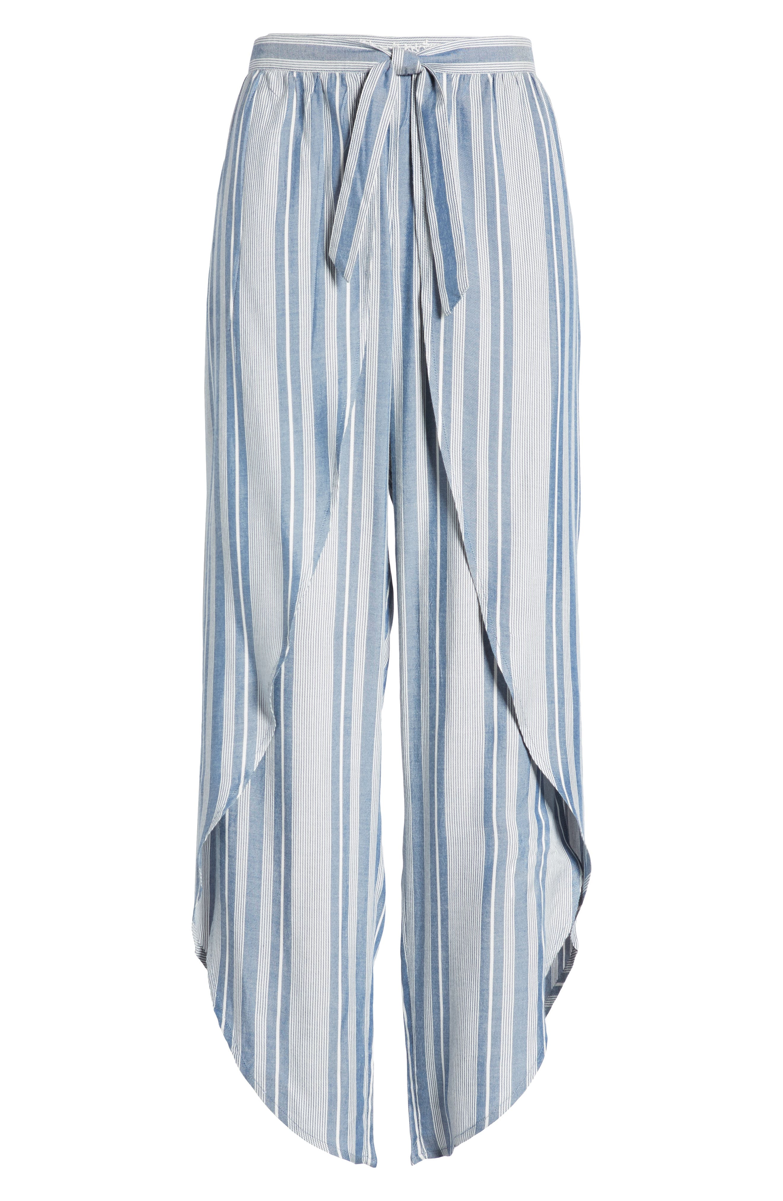 Jessa Stripe Tulip Hem Pants,                             Alternate thumbnail 7, color,                             MARSHMALLOW EMBROIDERED FLORAL