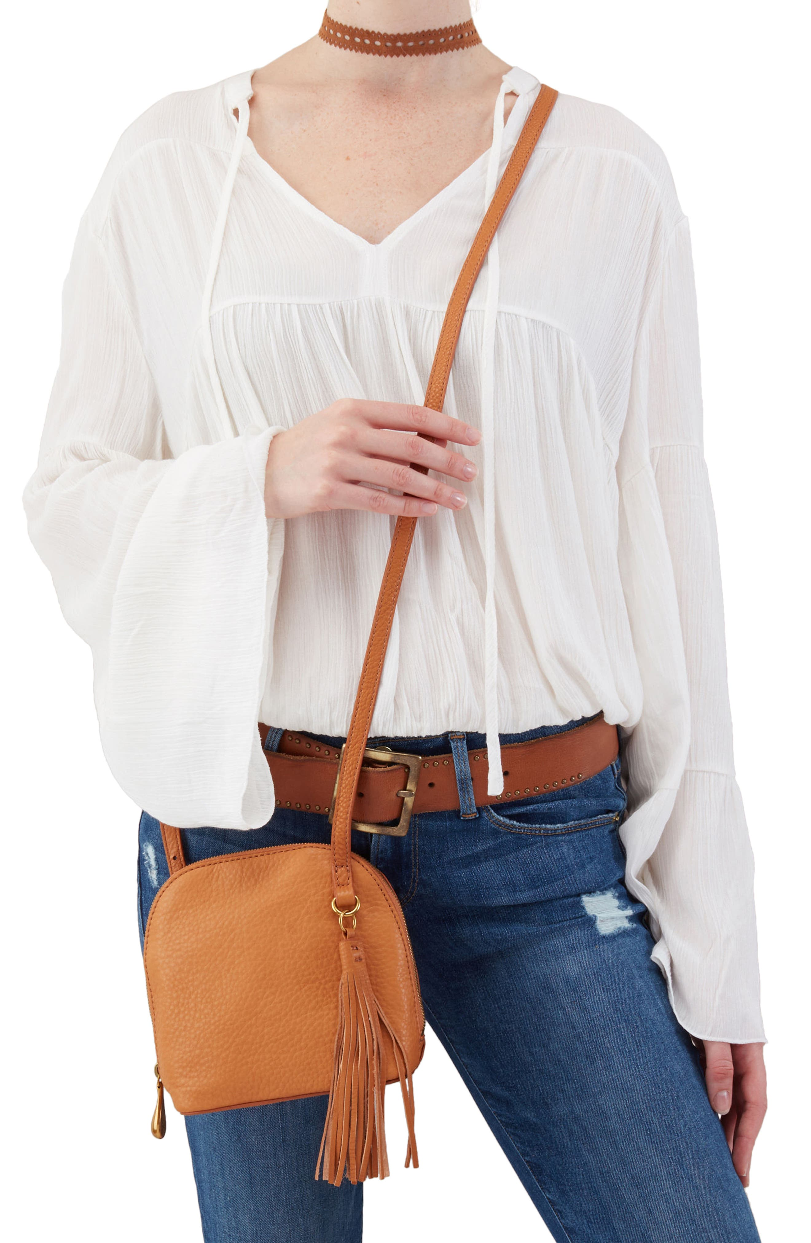 Nash Calfskin Leather Crossbody Bag,                             Alternate thumbnail 2, color,                             WHISKEY