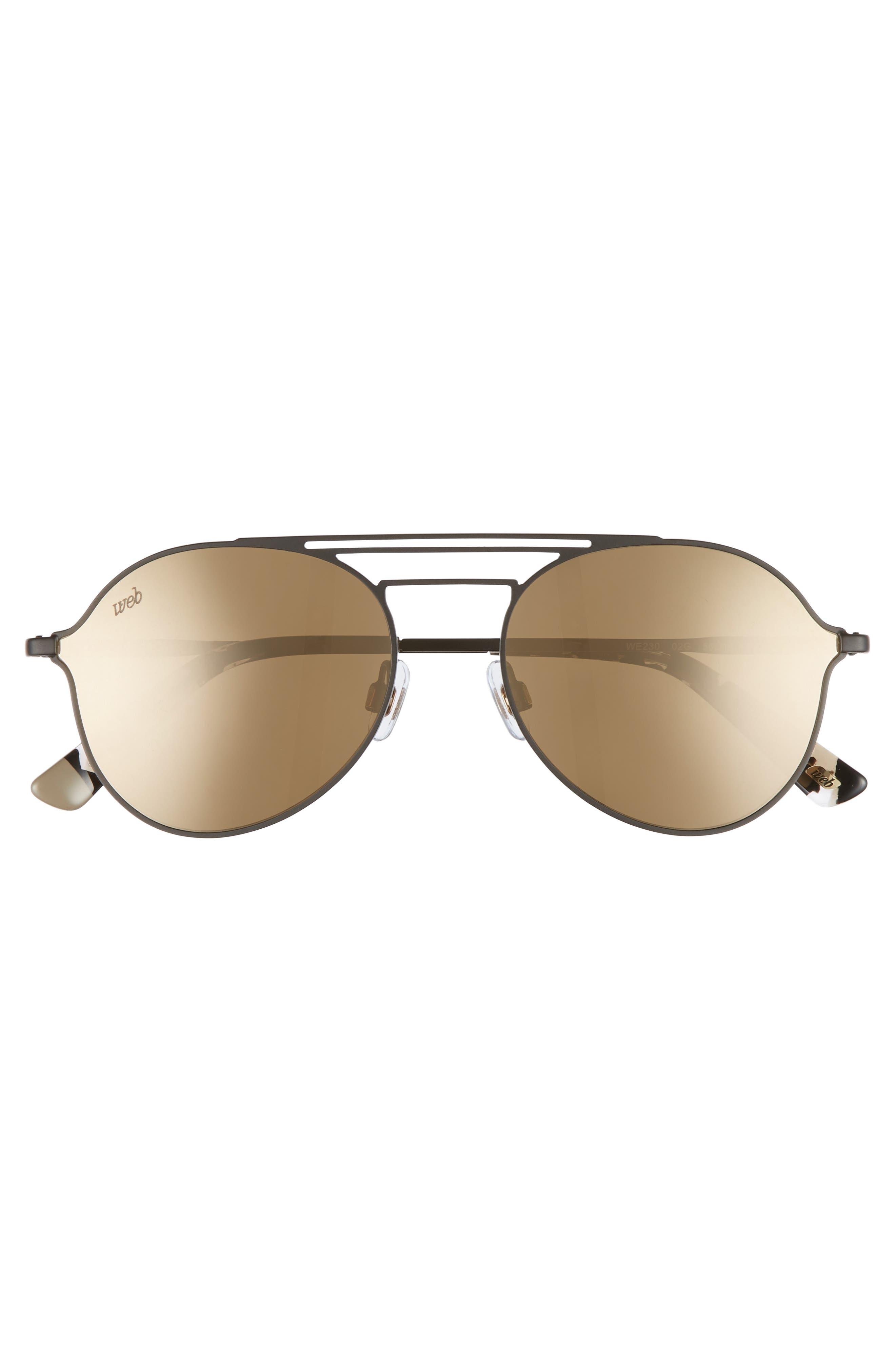 56mm Aviator Sunglasses,                             Alternate thumbnail 3, color,                             MATTE BLACK/ BROWN MIRROR