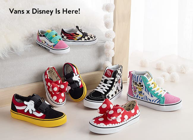 Vans x Disney is here! Kids' shoes and clothing.
