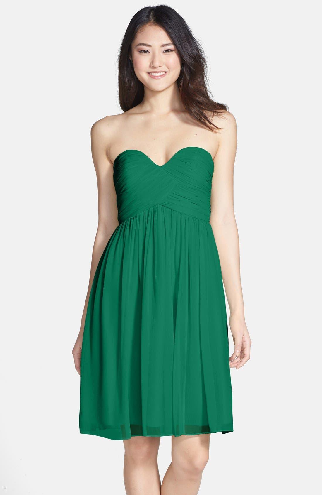 'Morgan' Strapless Silk Chiffon Dress,                             Main thumbnail 9, color,