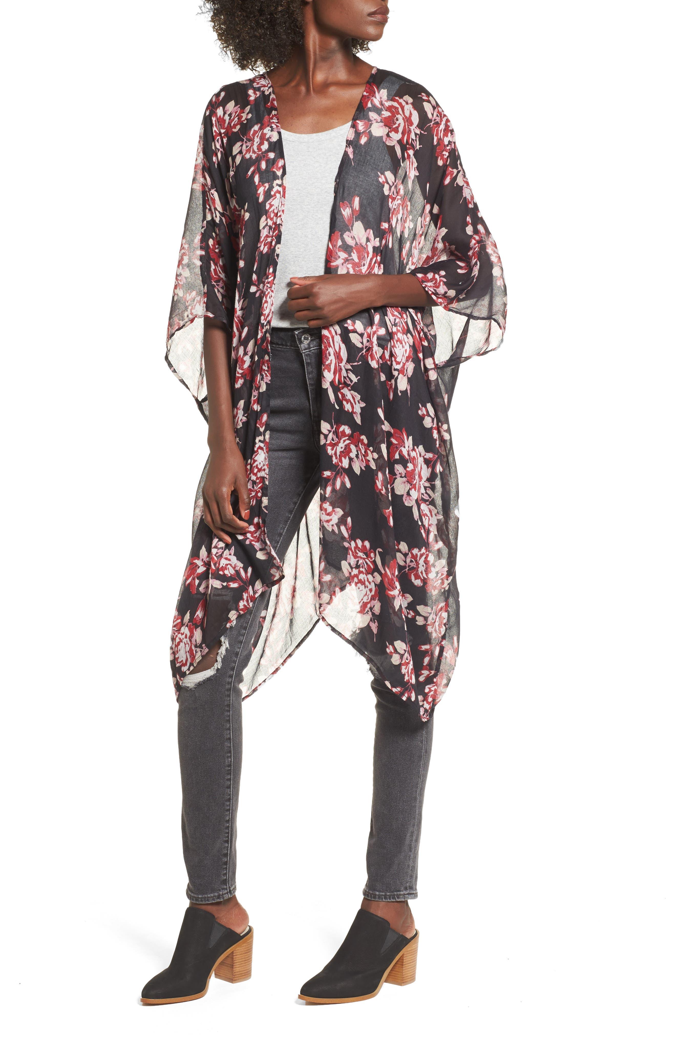Floral Print Kimono,                             Main thumbnail 1, color,                             001
