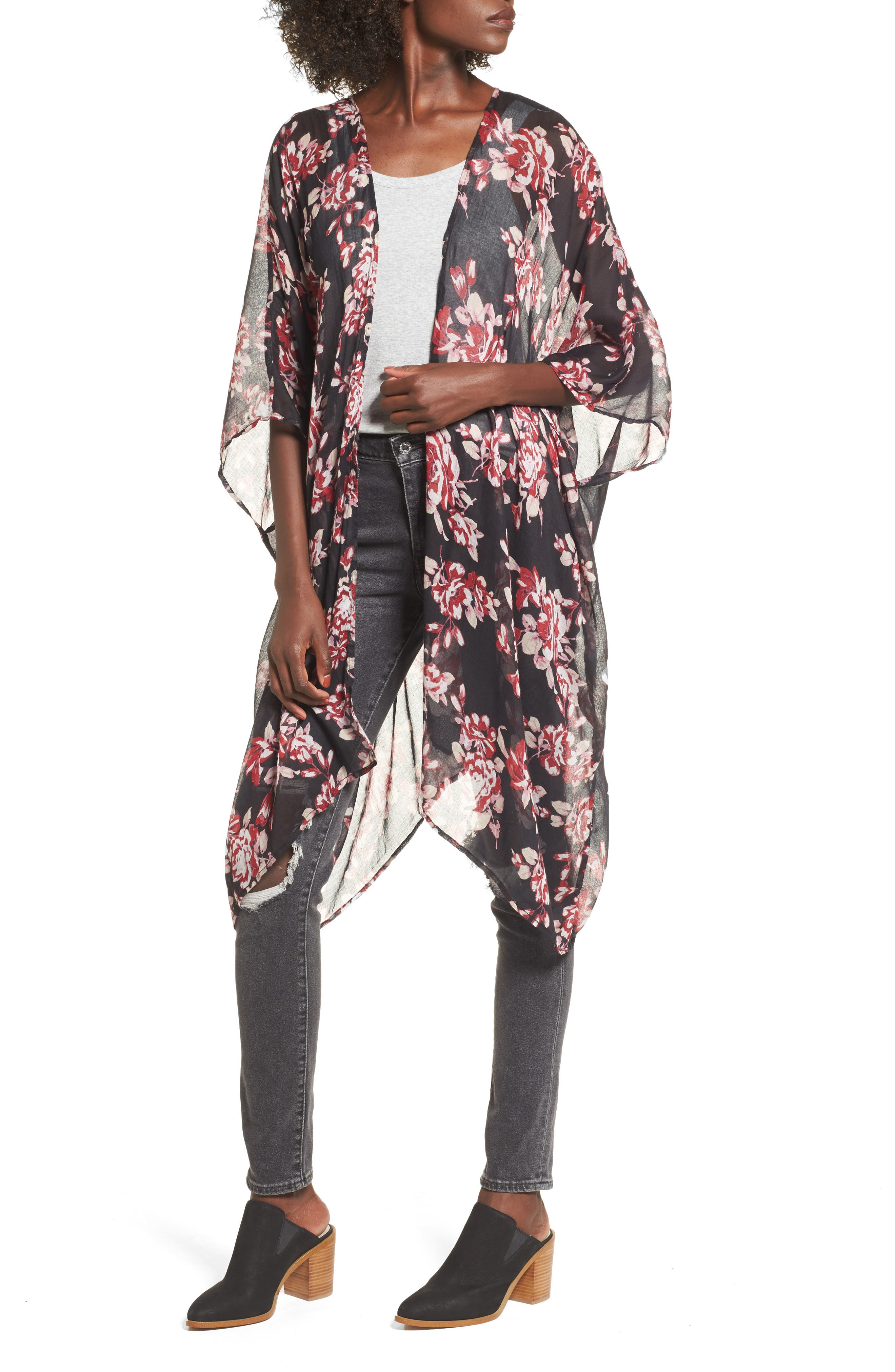 Floral Print Kimono,                         Main,                         color, 001