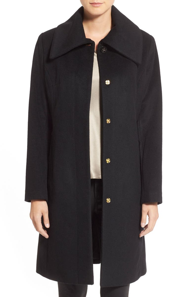 Single Breasted Wool Blend Coat, Main, color, BLACK