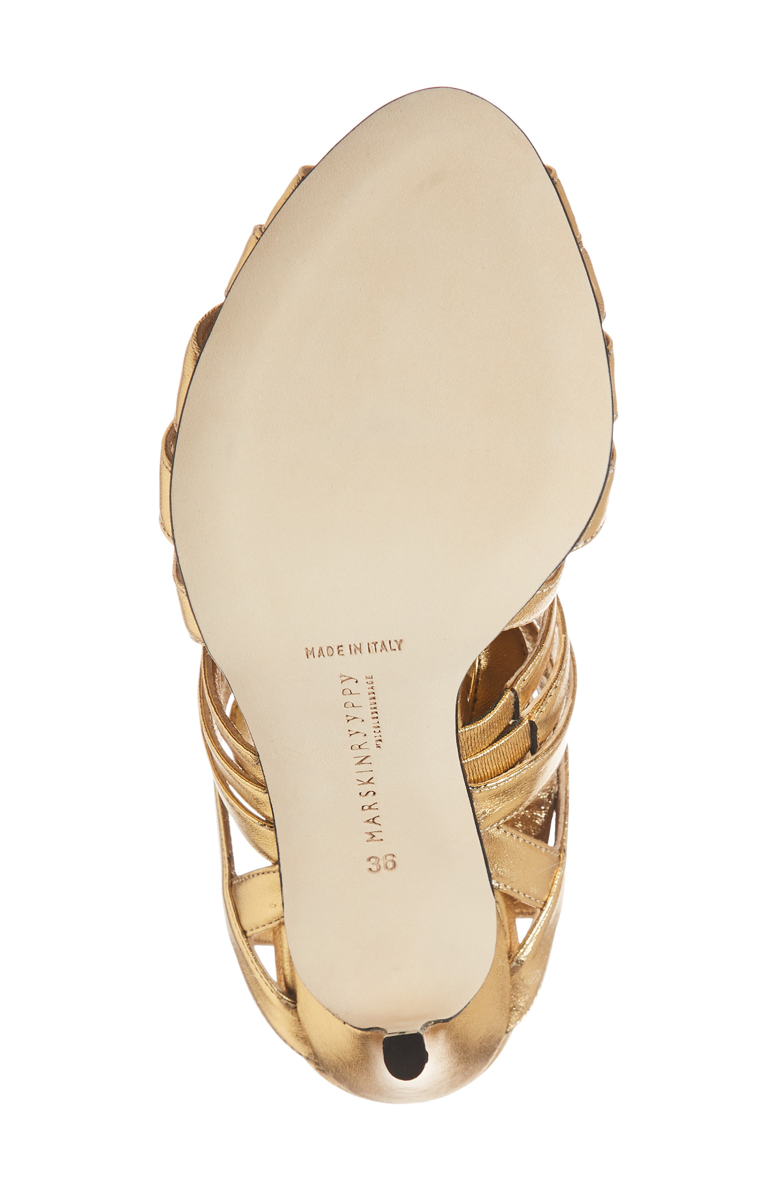 Nadege Strappy Pump,                             Alternate thumbnail 6, color,                             GOLD LEATHER