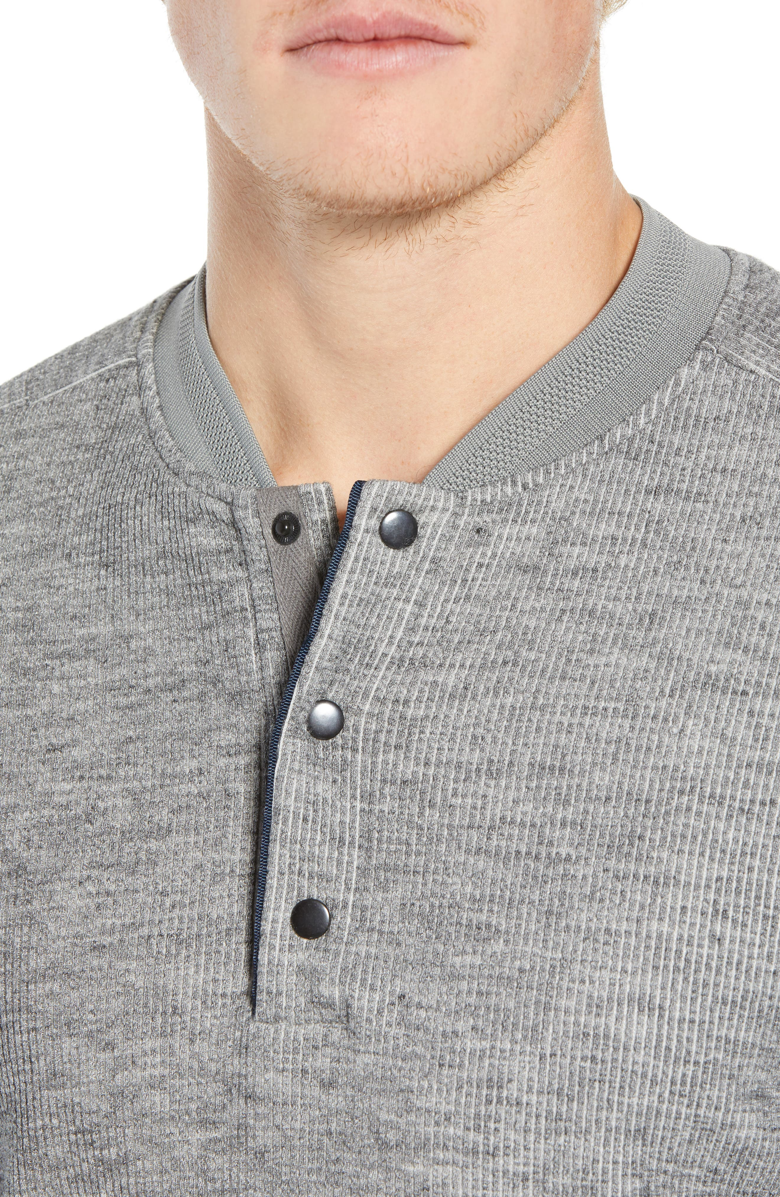 Charlie Rib Knit Henley Shirt,                             Alternate thumbnail 4, color,                             GREY