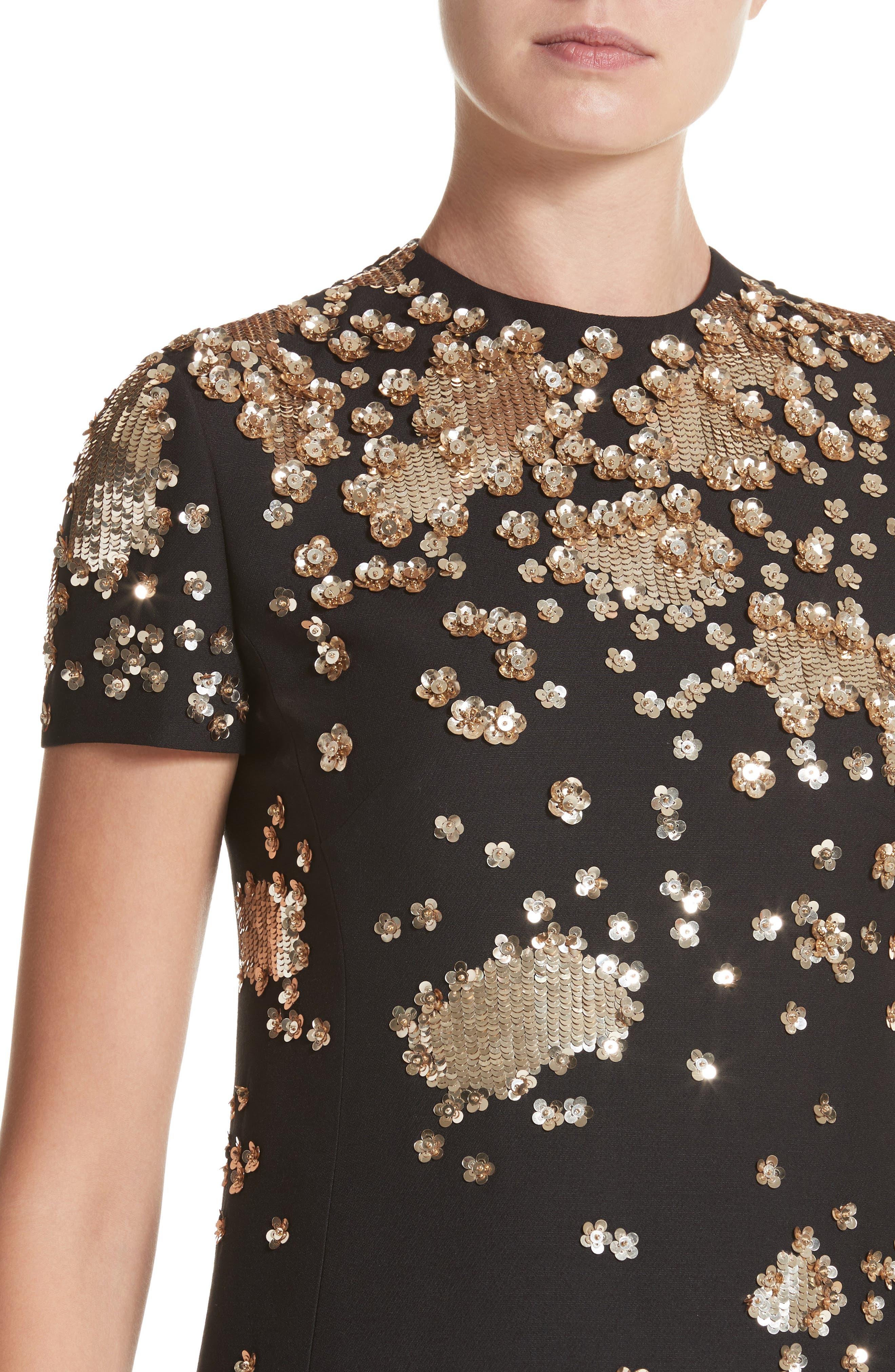 Embellished Wool & Silk Crepe Dress,                             Alternate thumbnail 4, color,                             BLACK