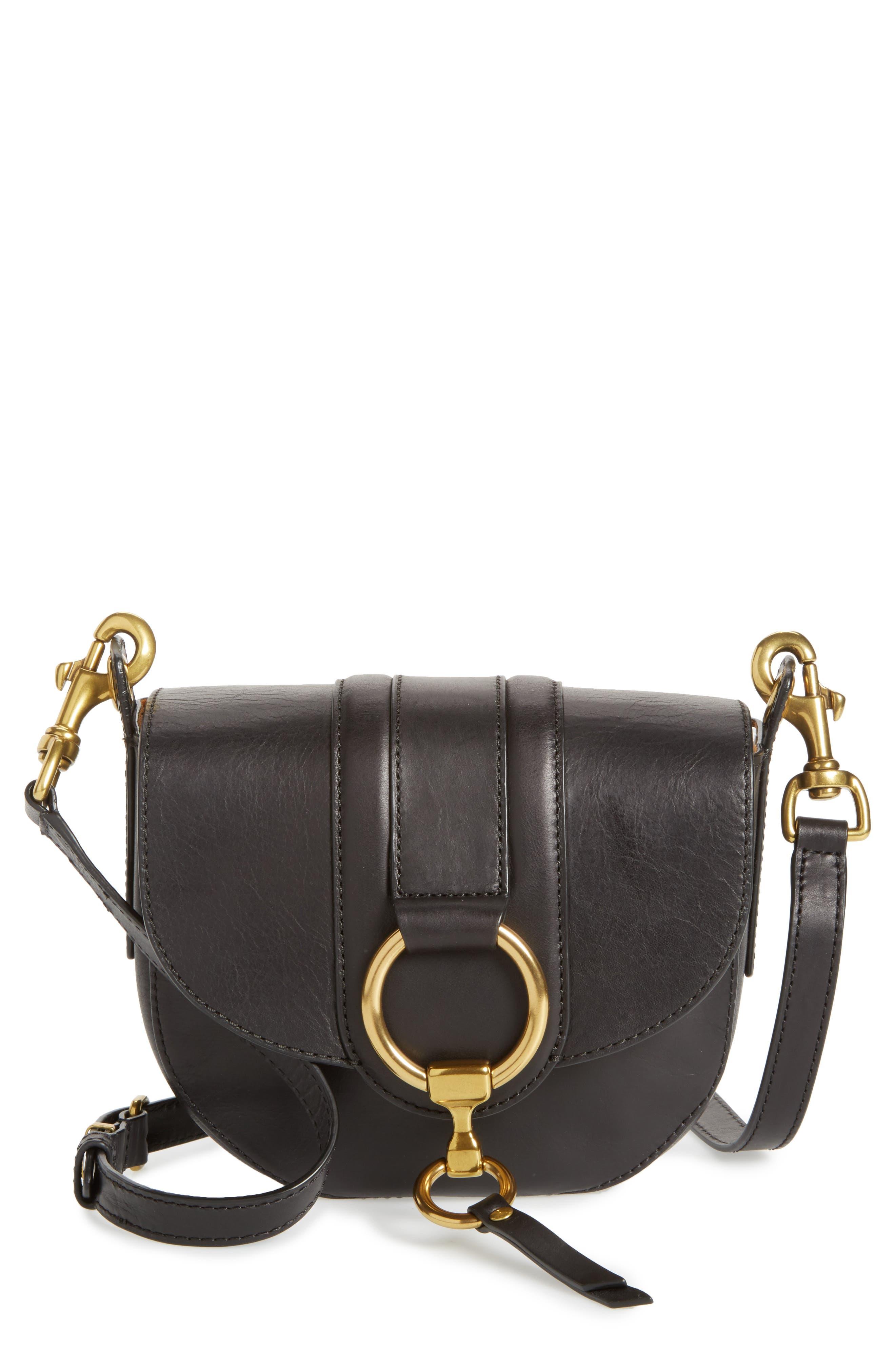 Small Ilana Harness Leather Saddle Bag,                             Main thumbnail 1, color,                             001