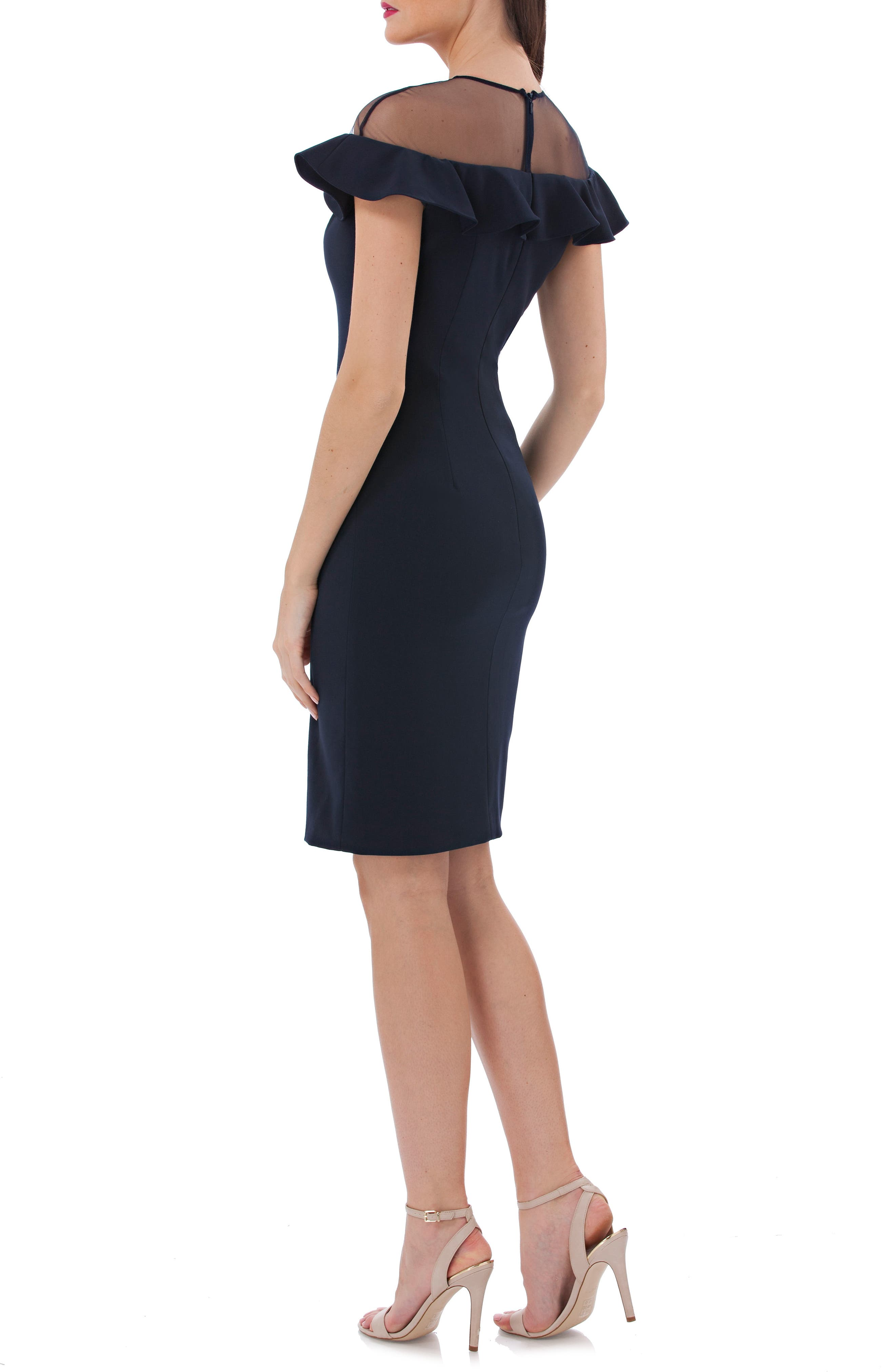 Illusion Yoke Ruffle Crepe Sheath Dress,                             Alternate thumbnail 2, color,                             476