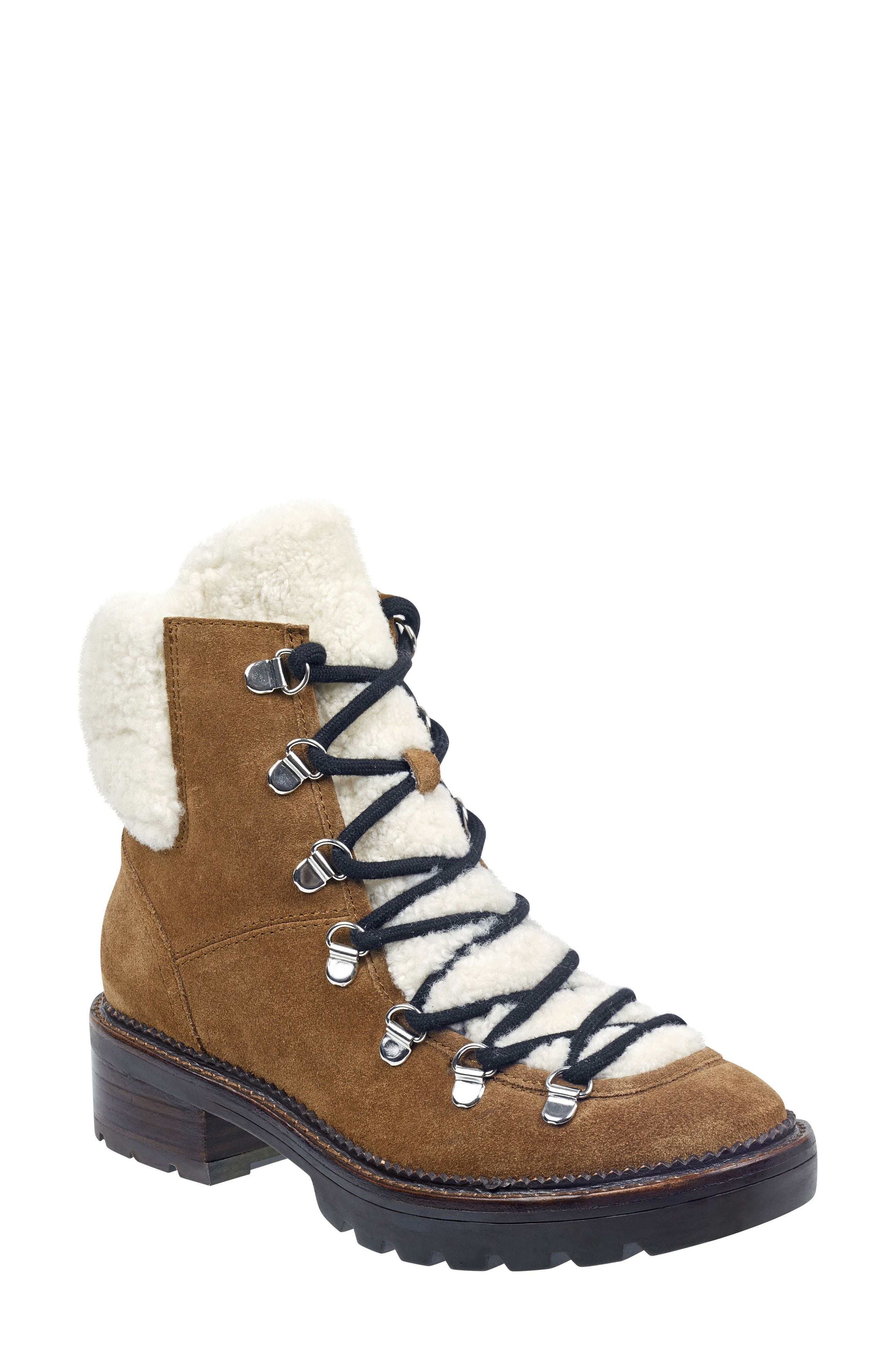 Capell Genuine Shearling Cuff Lace-Up Boot,                             Main thumbnail 1, color,                             BROWN SUEDE