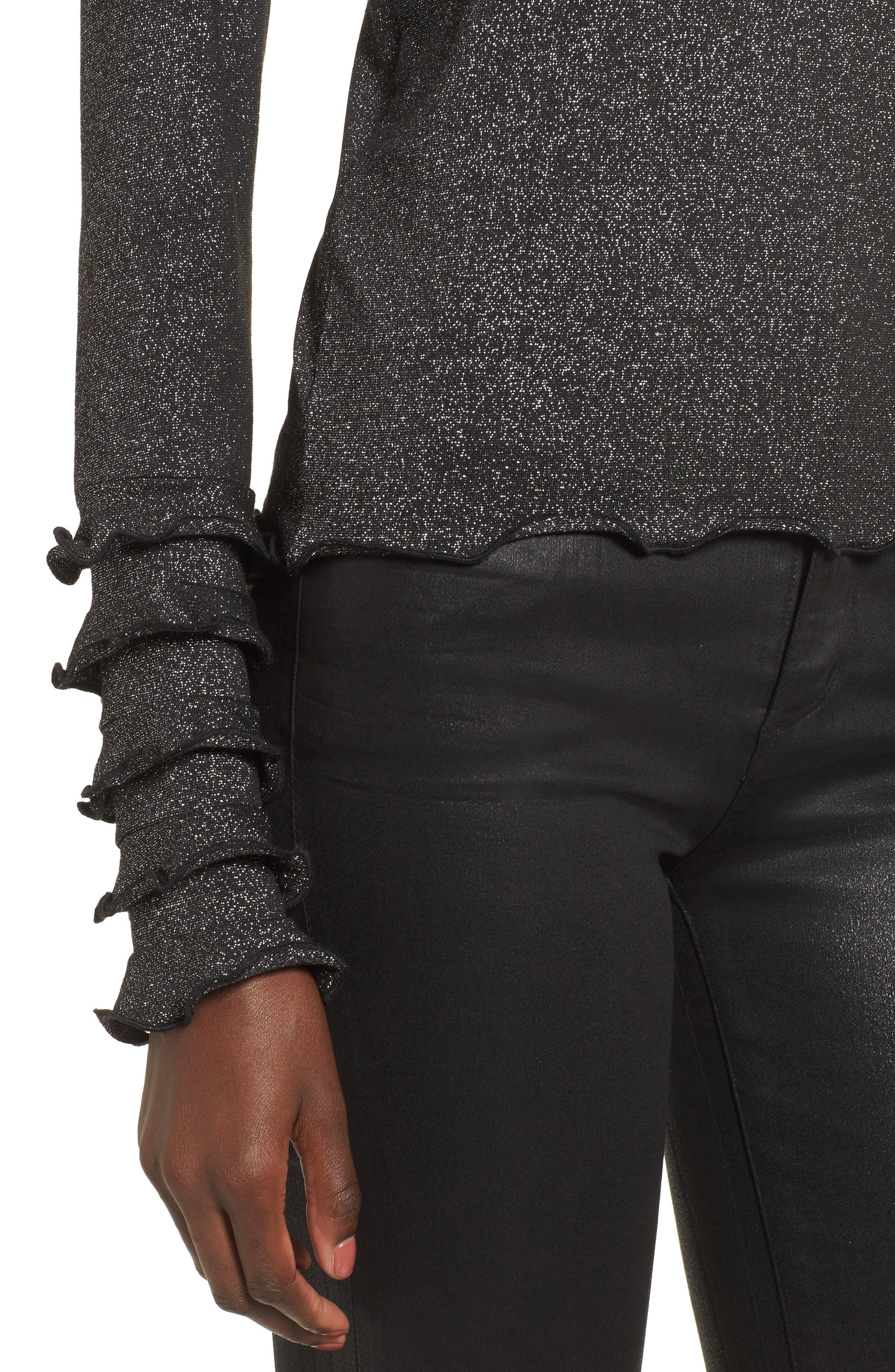 Locket Metallic Knit Top,                             Alternate thumbnail 4, color,                             001
