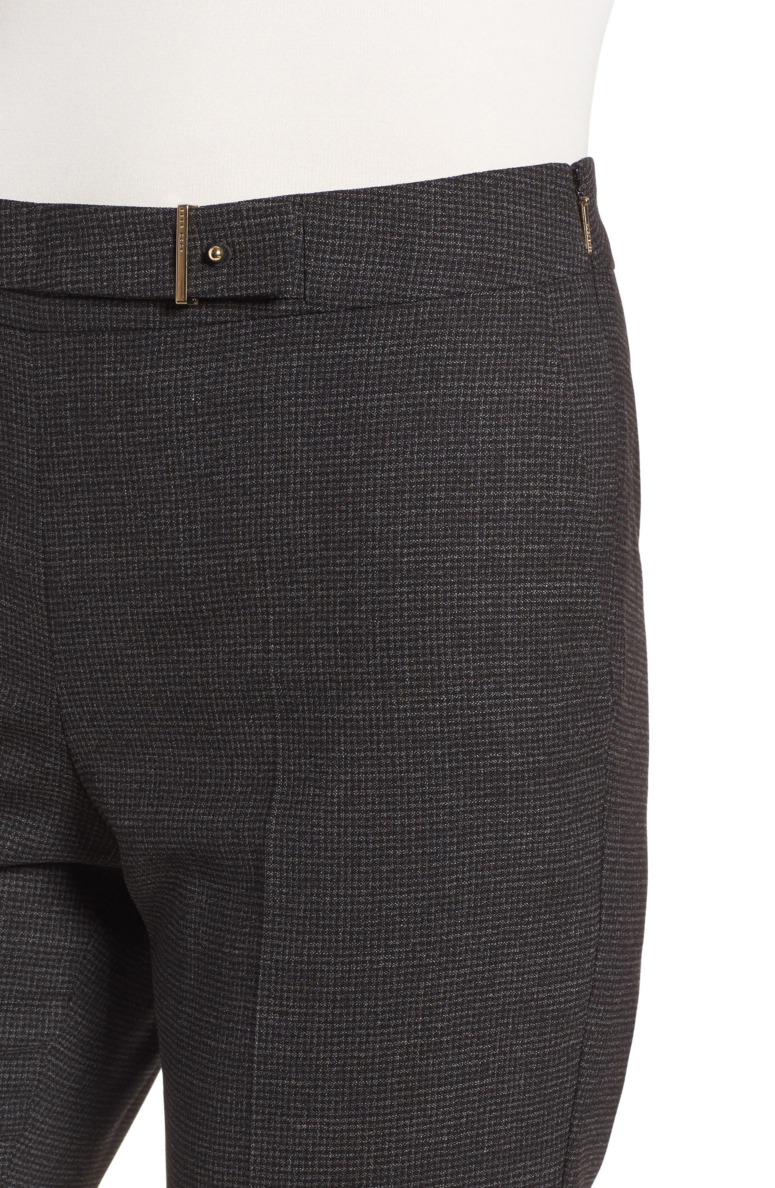 Tafena Check Stretch Wool Pants,                             Alternate thumbnail 4, color,                             006