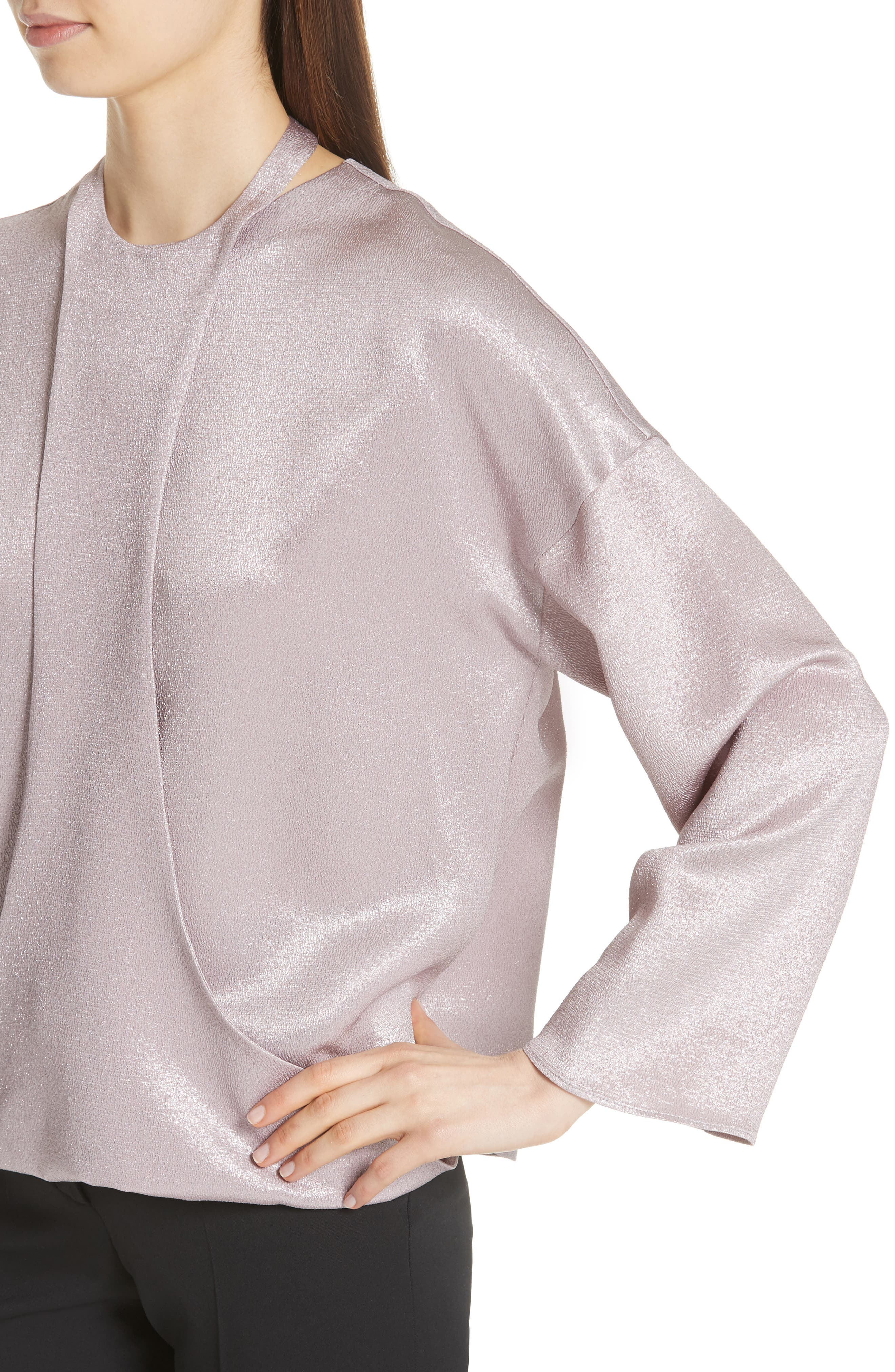 Harness Detail Hammered Lamé Top,                             Alternate thumbnail 4, color,                             650