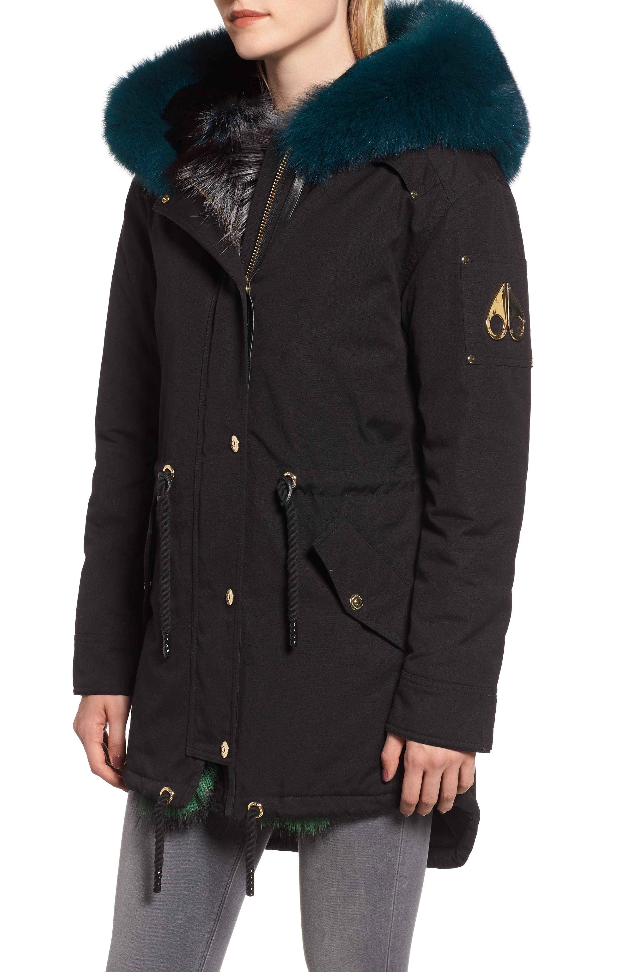 Foxy Stellar Parka with Genuine Rabbit Fur & Genuine Fox Fur,                             Alternate thumbnail 4, color,                             BLACK/ TEAL/ SKY BLUE/ GREEN