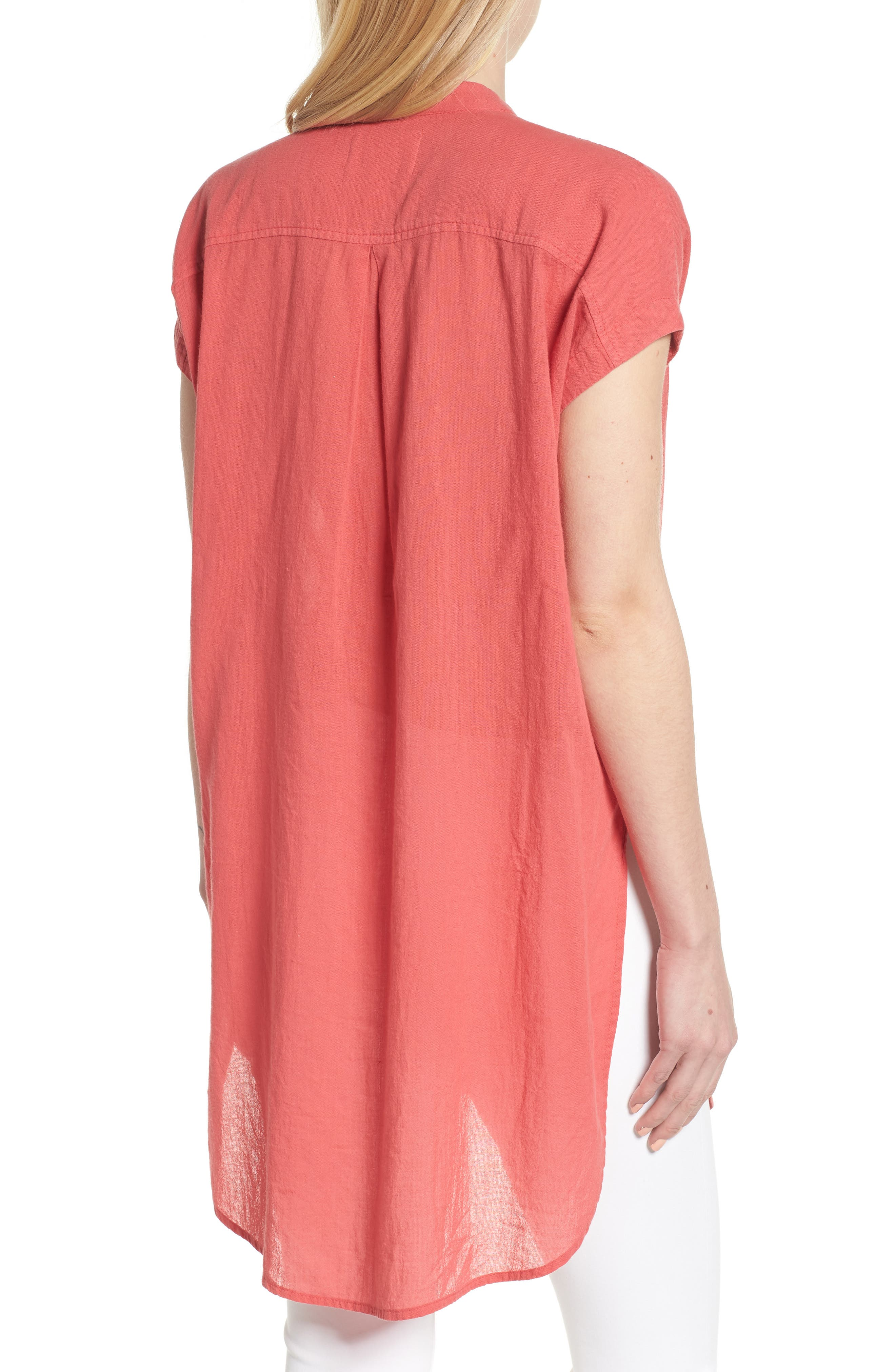 Button Front Longline Top,                             Alternate thumbnail 17, color,