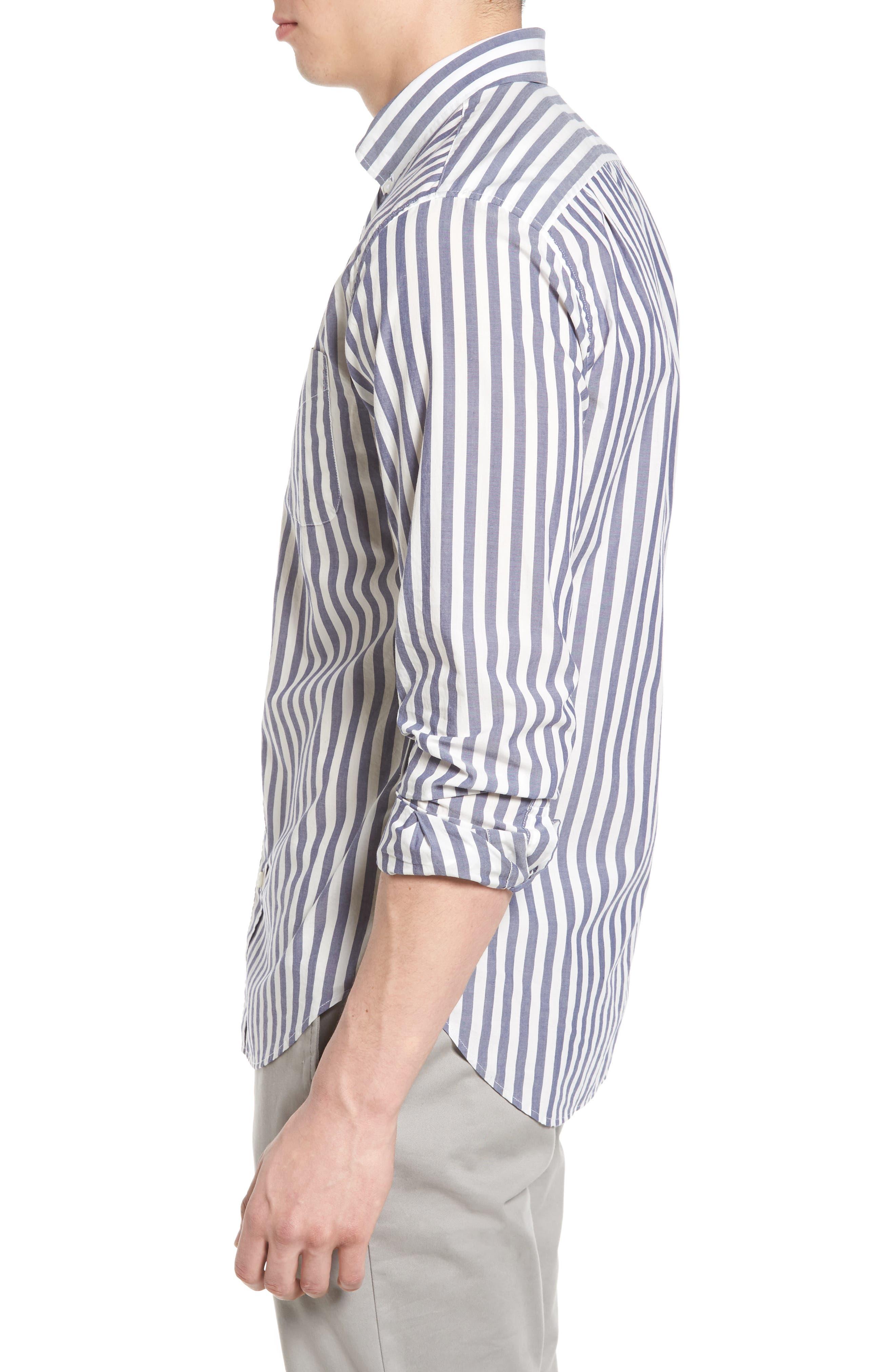 Slim Fit Summerweight Stripe Sport Shirt,                             Alternate thumbnail 3, color,                             400