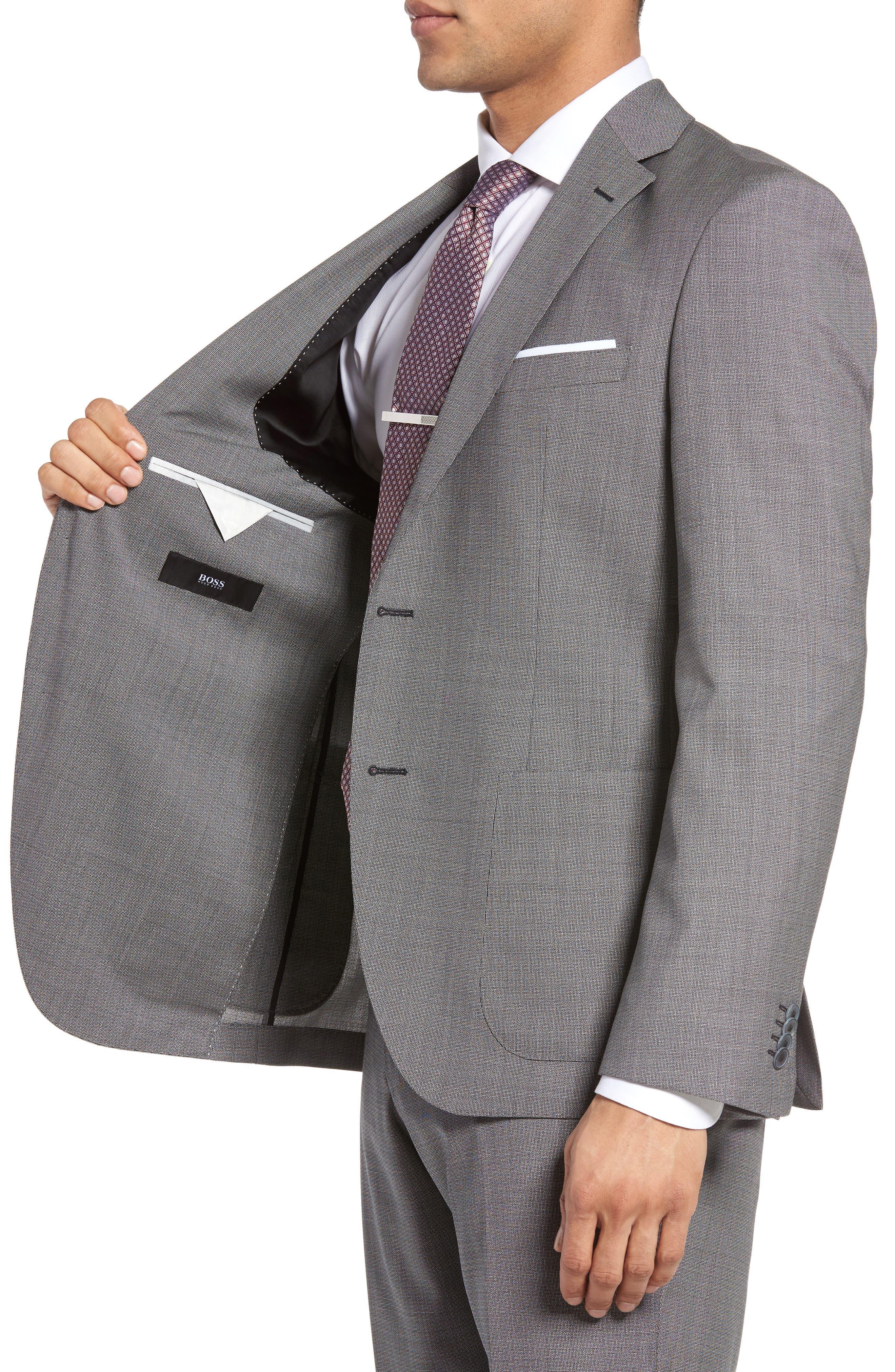 Janon/Lenon Trim Fit Solid Wool Suit,                             Alternate thumbnail 4, color,                             020