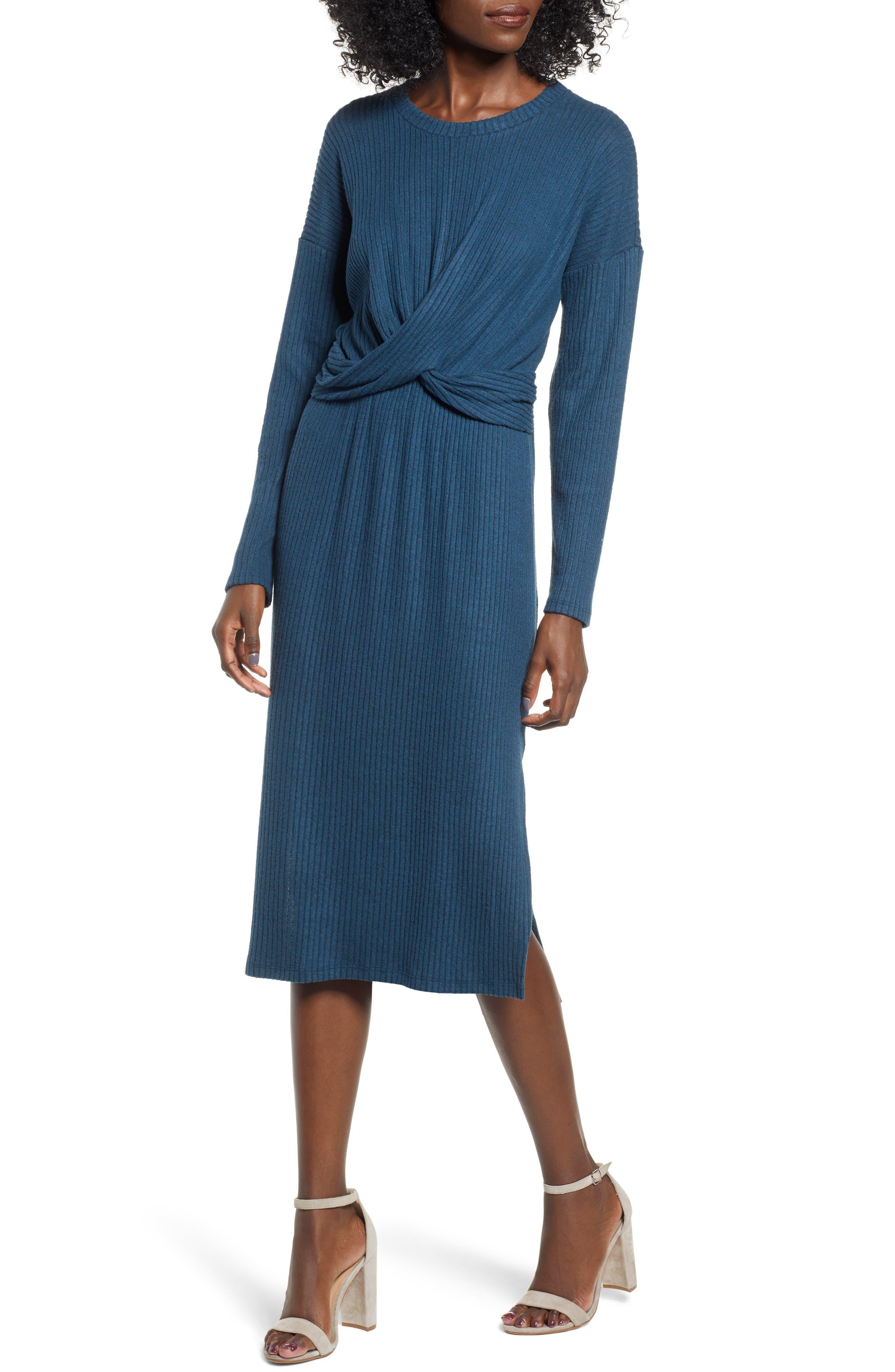 ALL IN FAVOR Rib Knit Midi Dress, Main, color, MIDNIGHT NAVY