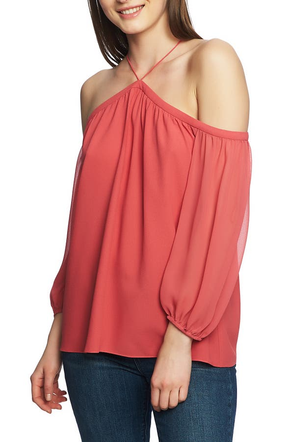 1.state Dresses OFF THE SHOULDER SHEER CHIFFON BLOUSE