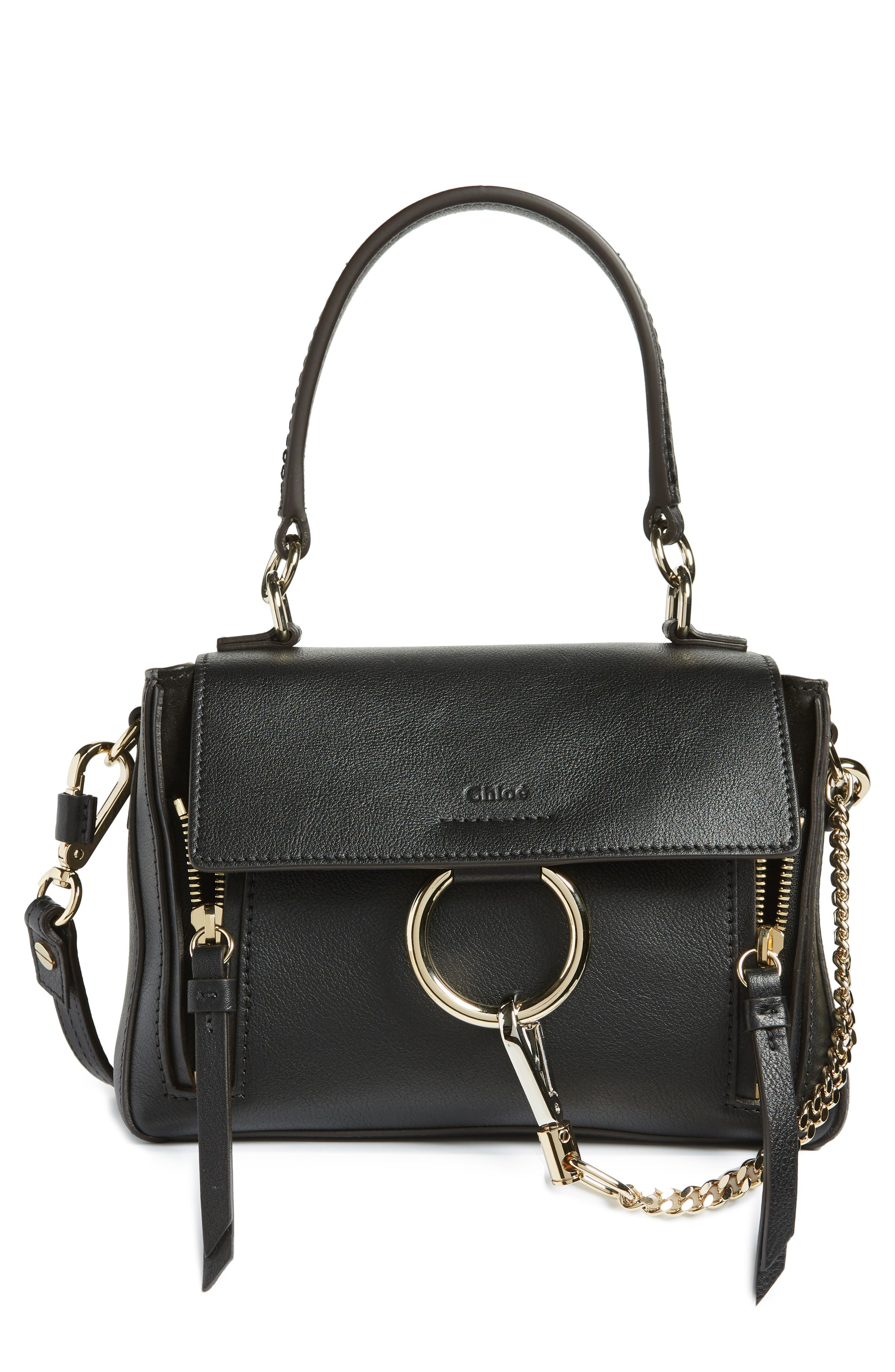 Mini Faye Day Leather Crossbody Bag,                         Main,                         color, BLACK