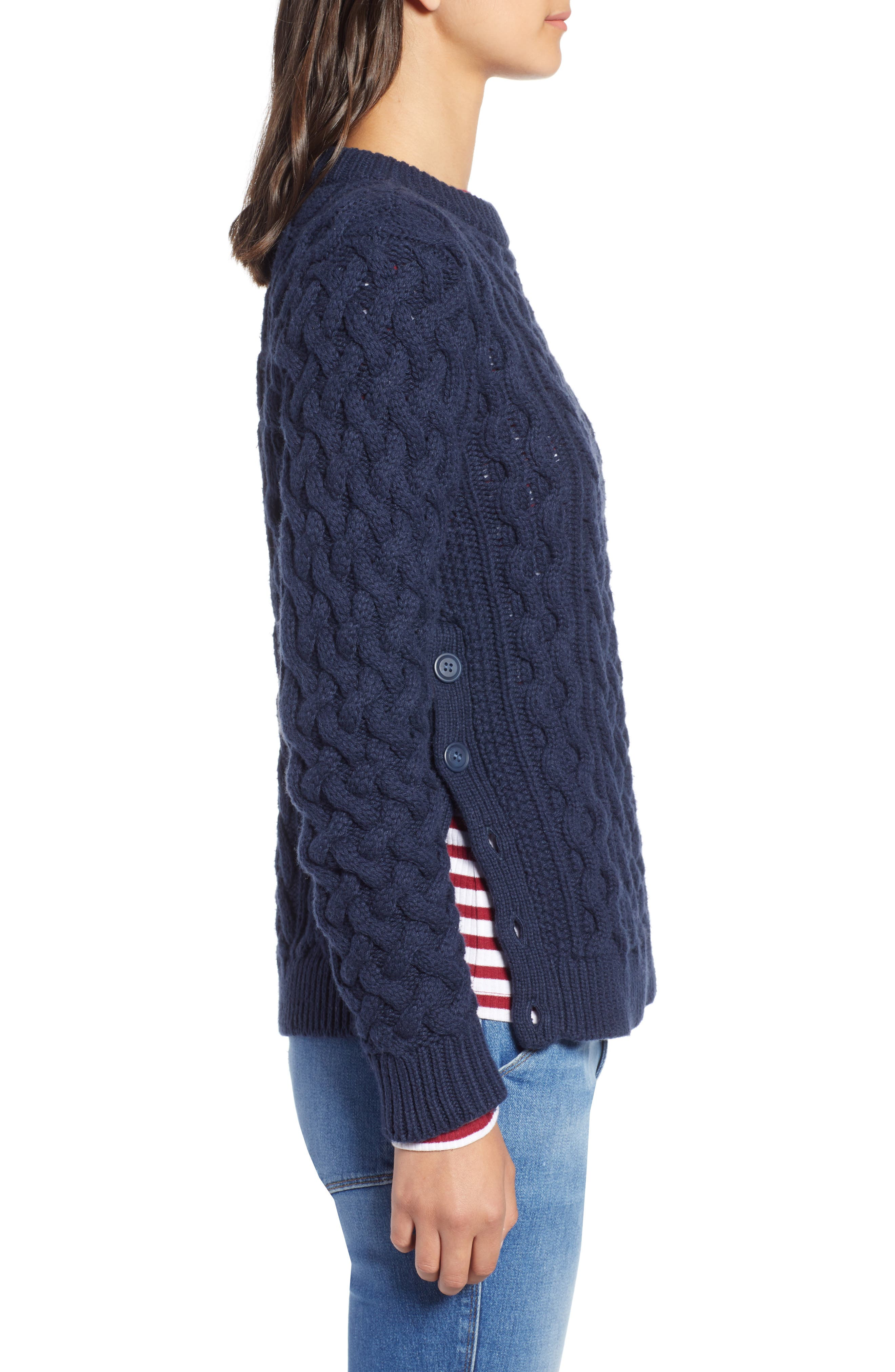 Fisherwoman Crewneck Pullover Sweater,                             Alternate thumbnail 3, color,                             NAVY BLAZER