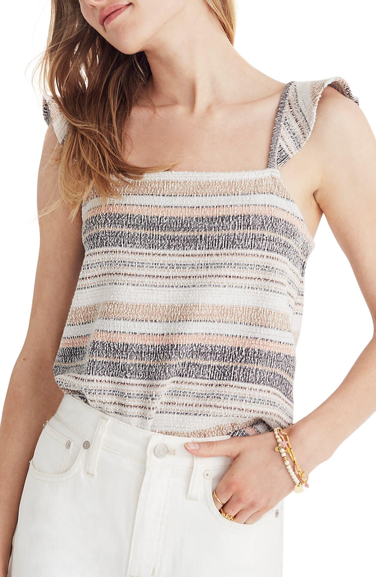 Texture & Thread Stripe Ruffle Strap Tank,                         Main,                         color, HEATHER TOFFEE