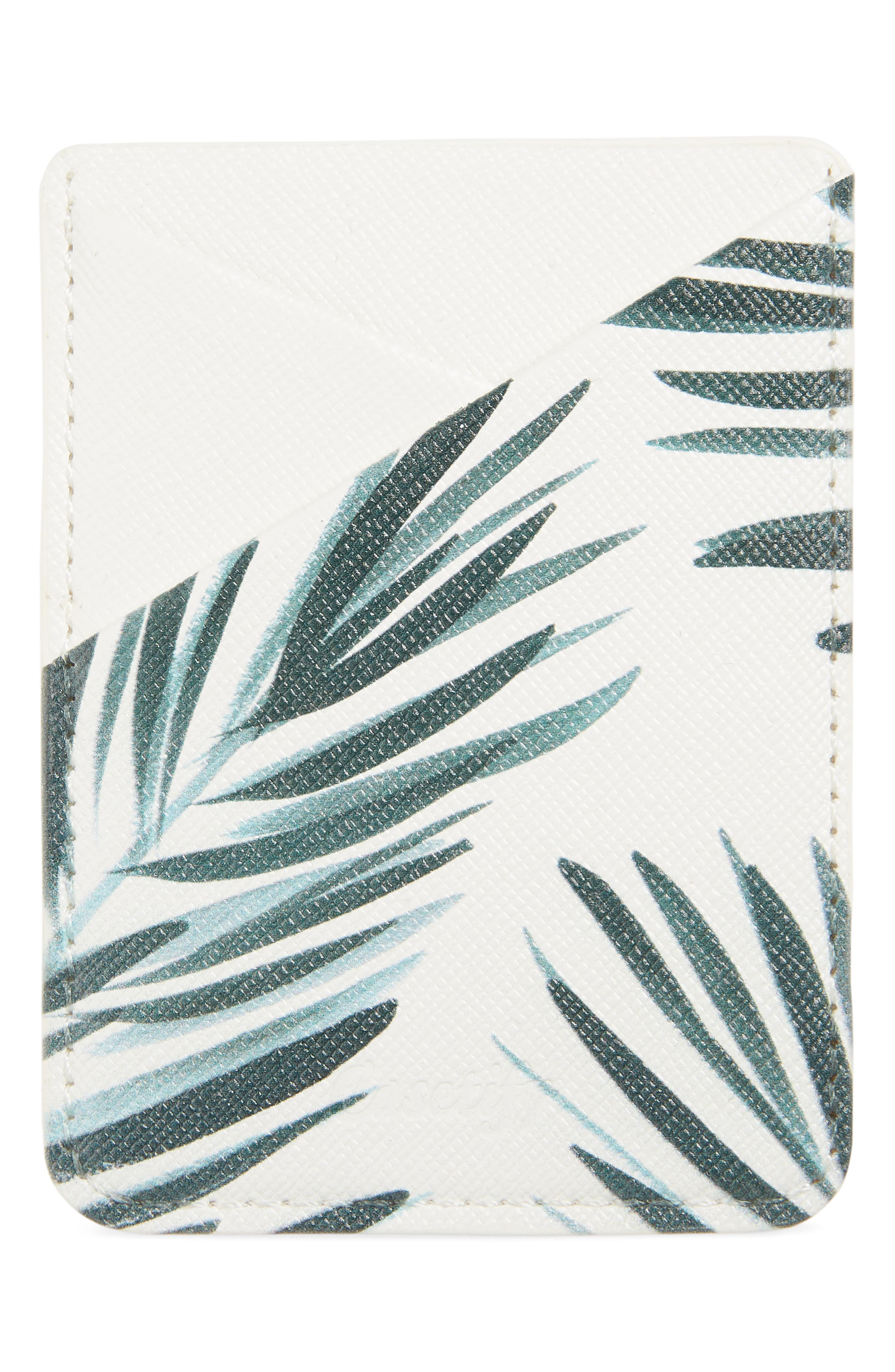 Palm Leaf Adhesive Card Pocket,                             Main thumbnail 1, color,                             PALM