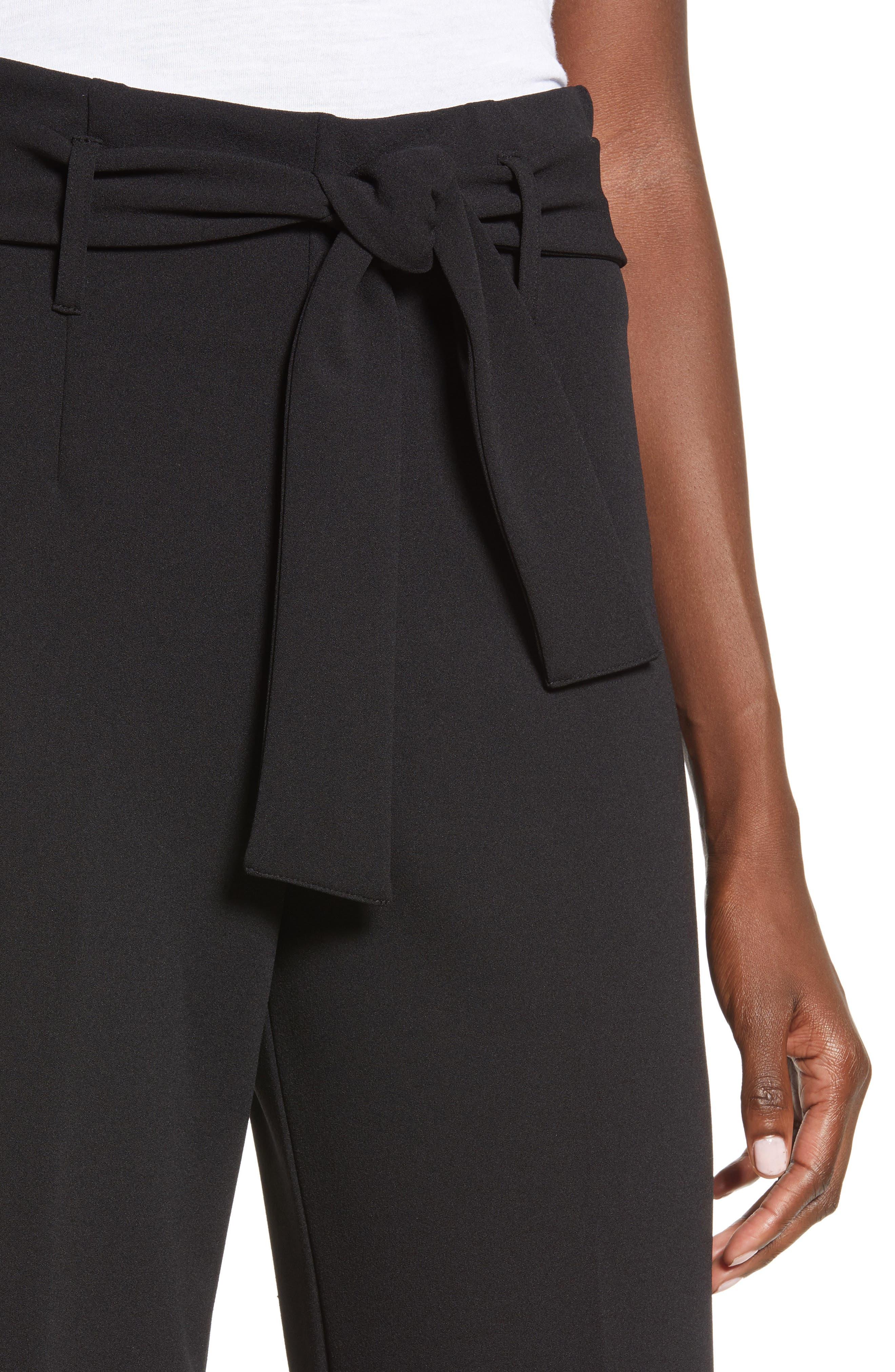 High Waist Belted Pants,                             Alternate thumbnail 4, color,                             BLACK