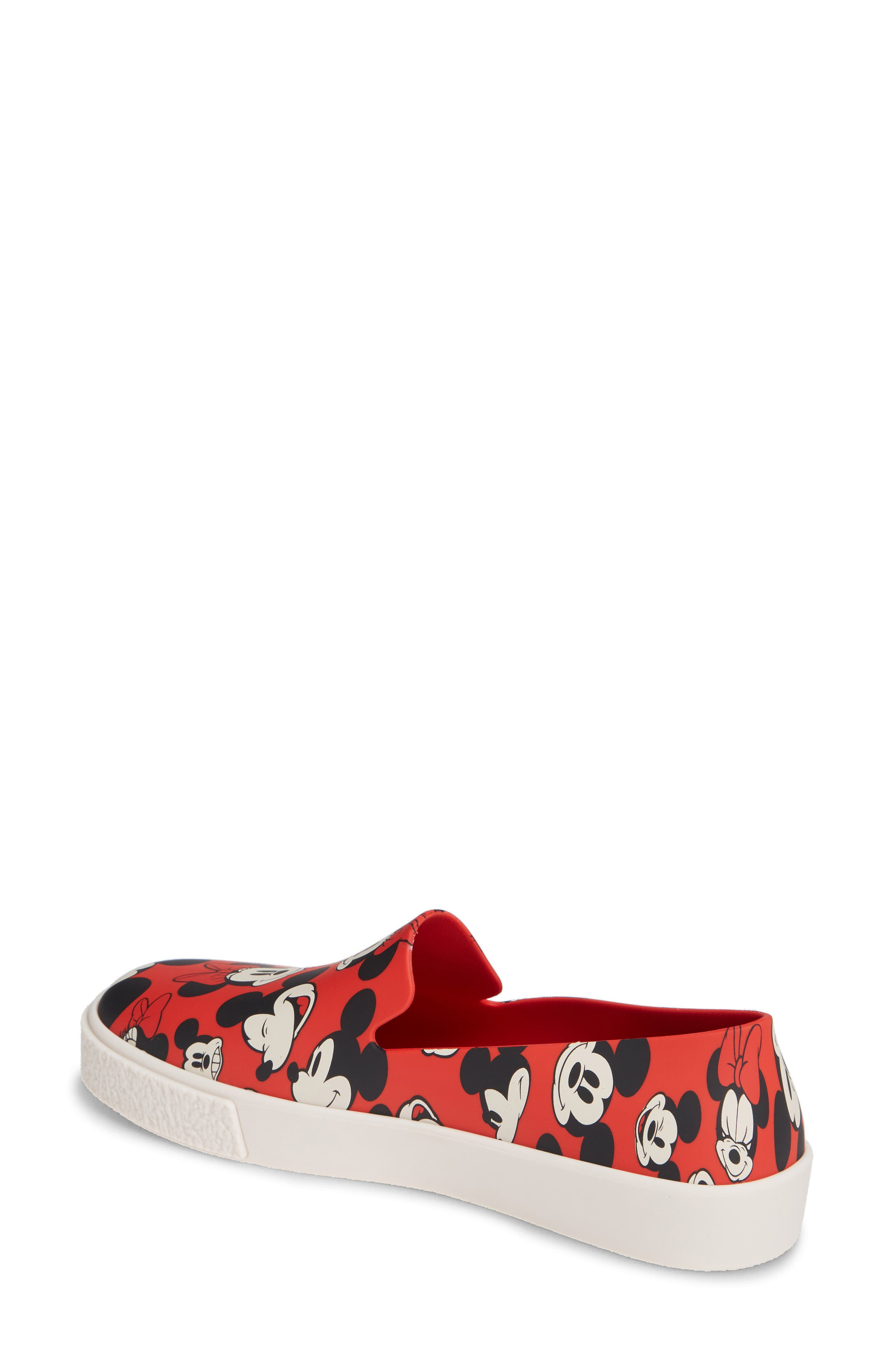 Ground Mickey Mouse Slip-On Sneaker,                             Alternate thumbnail 2, color,                             RED/ WHITE FABRIC