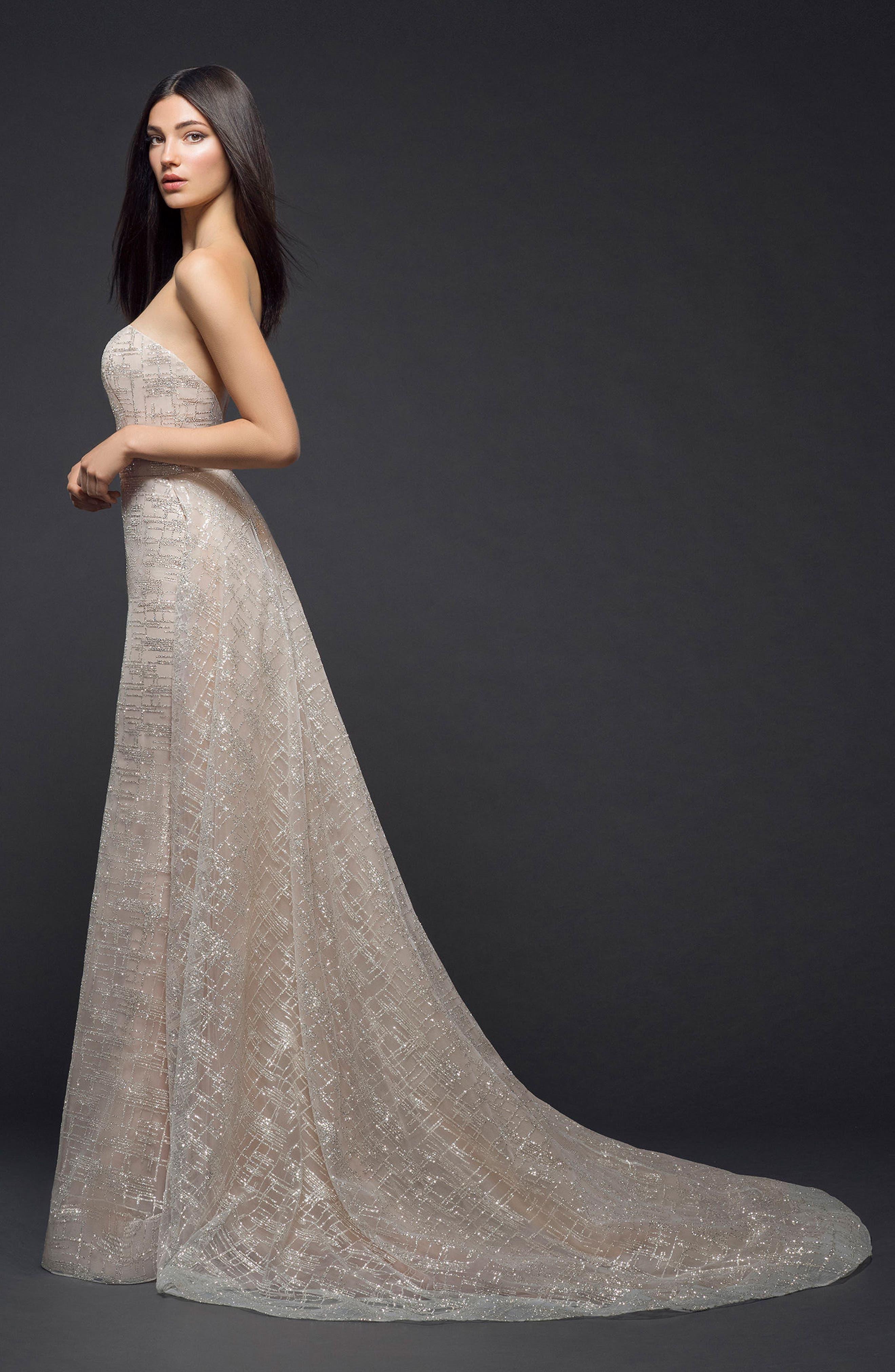 Sparkle Plaid Strapless Gown,                             Alternate thumbnail 2, color,                             NUDE