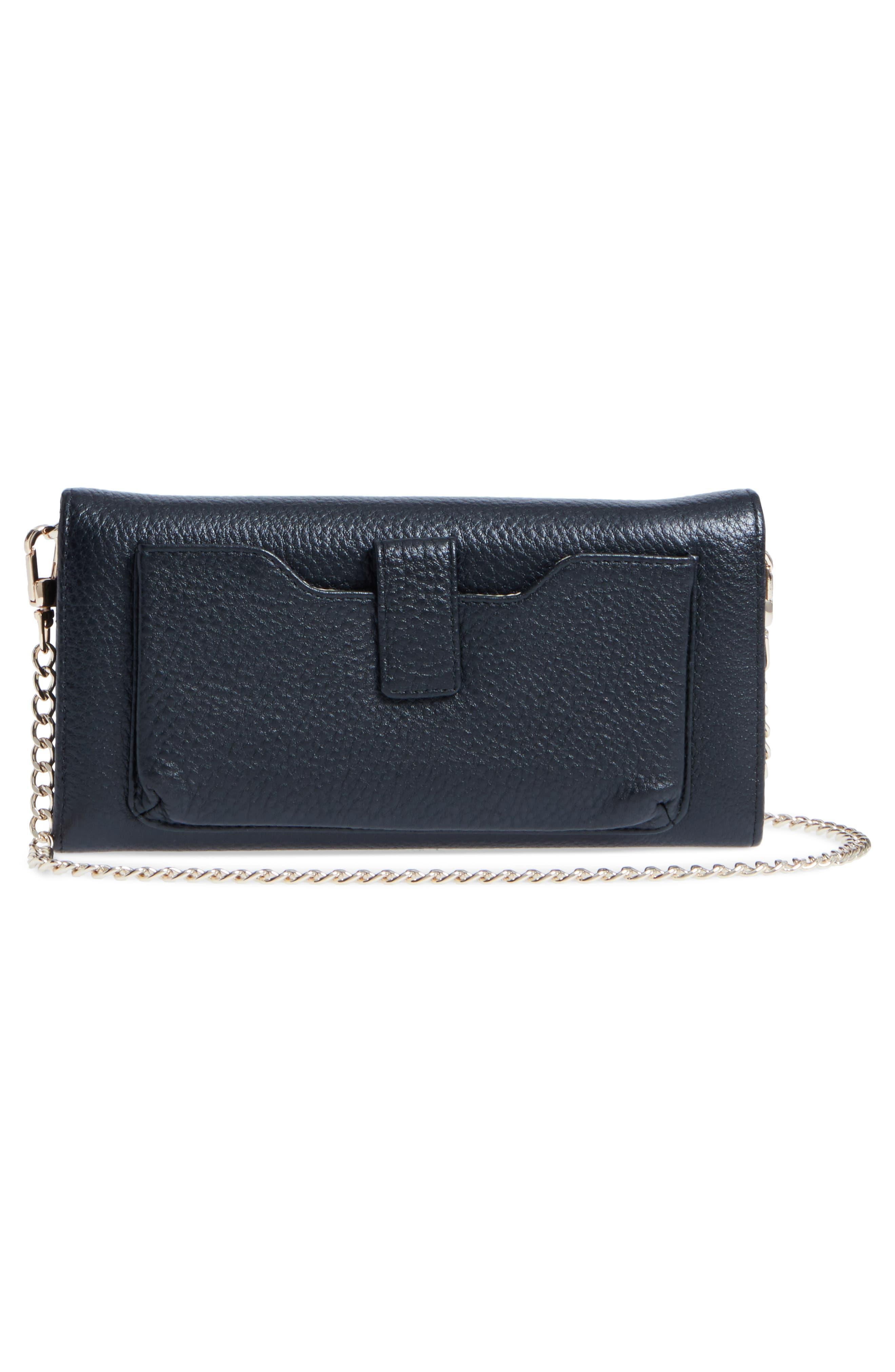 Céline Dion Adagio Leather Crossbody Wallet,                             Alternate thumbnail 4, color,                             001