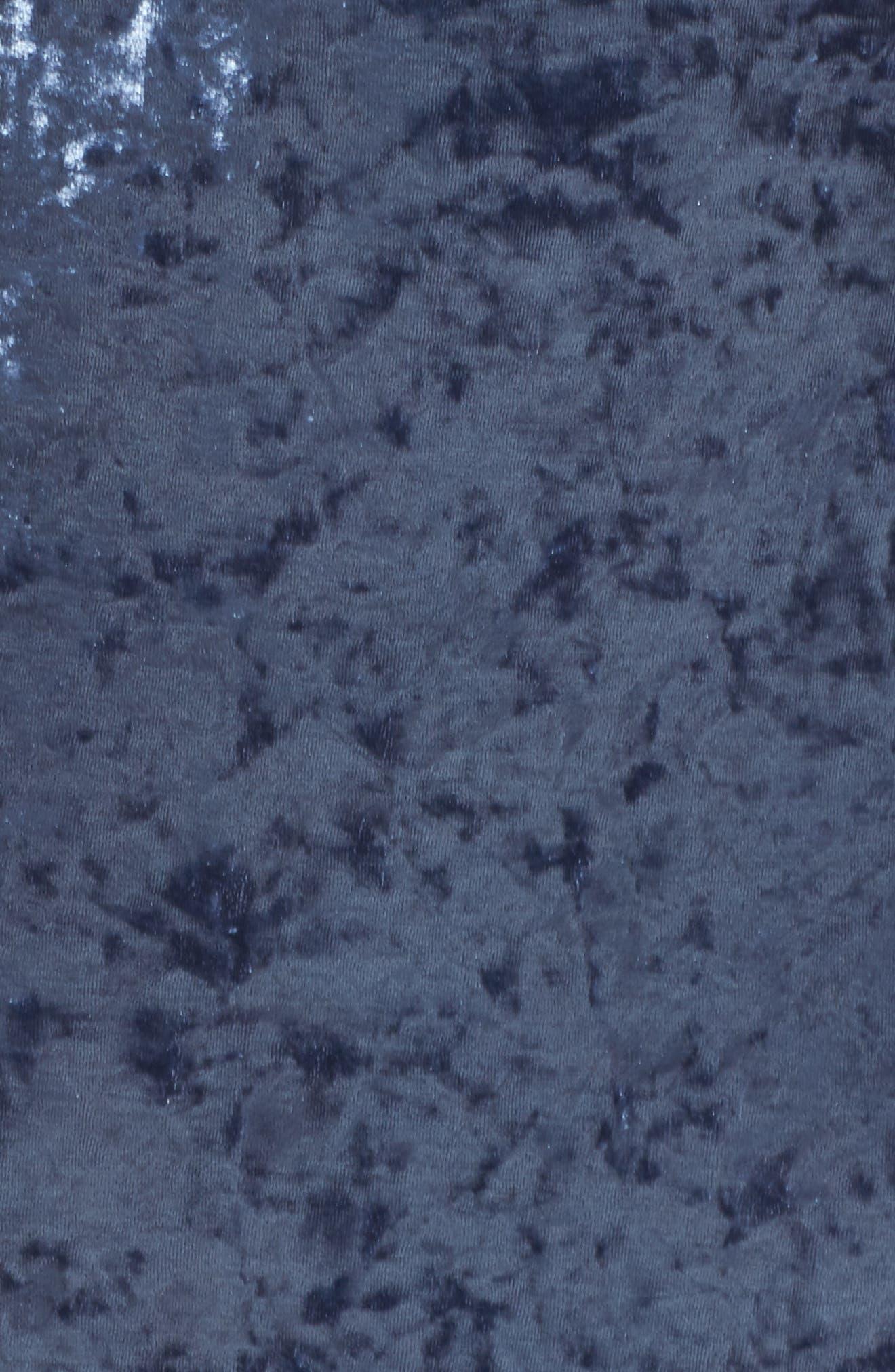Strappy Crushed Velvet Gown,                             Alternate thumbnail 5, color,                             SLATE BLUE