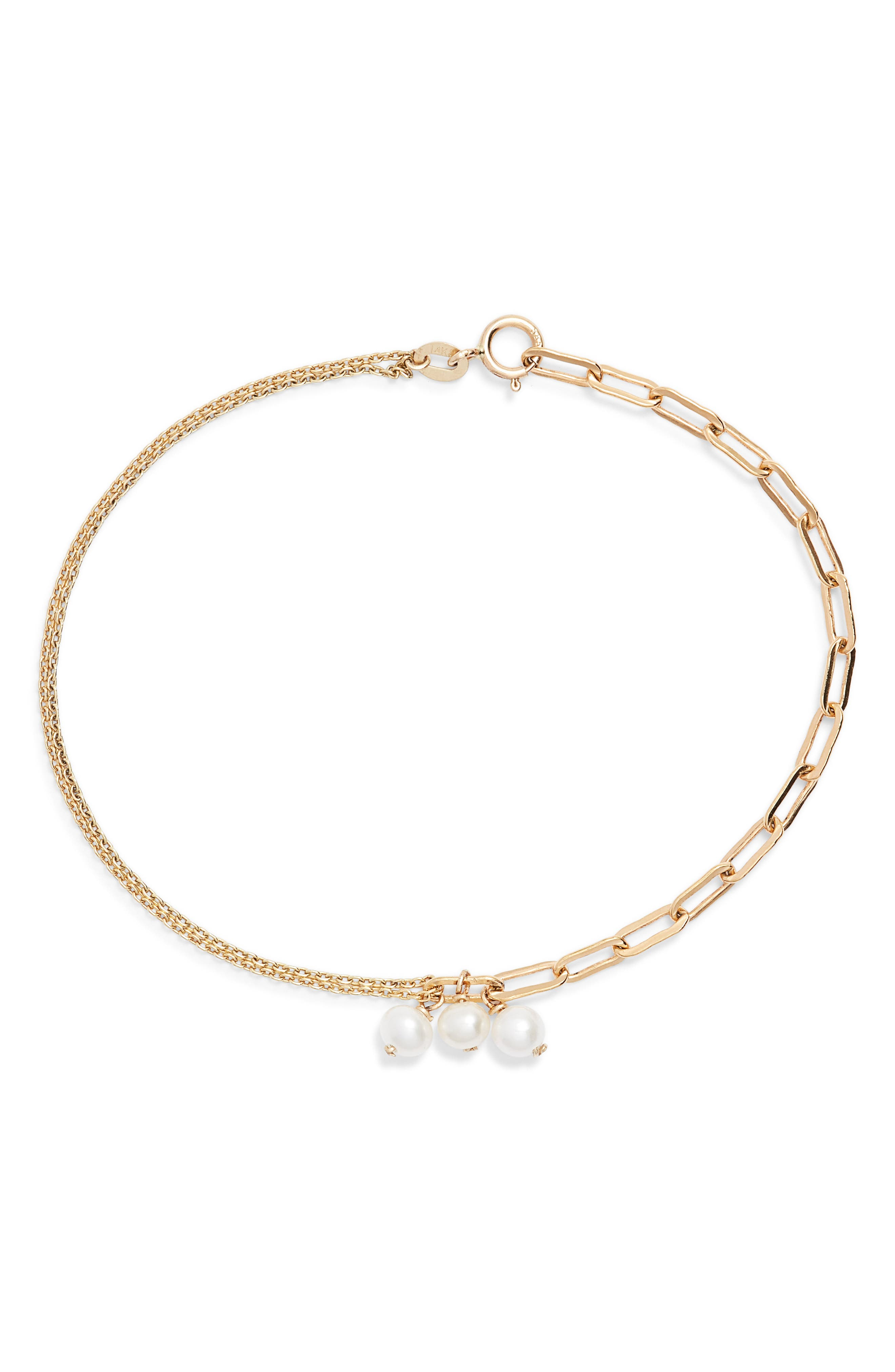 POPPY FINCH,                             Pearl Bracelet,                             Main thumbnail 1, color,                             YELLOW GOLD/ PEARL
