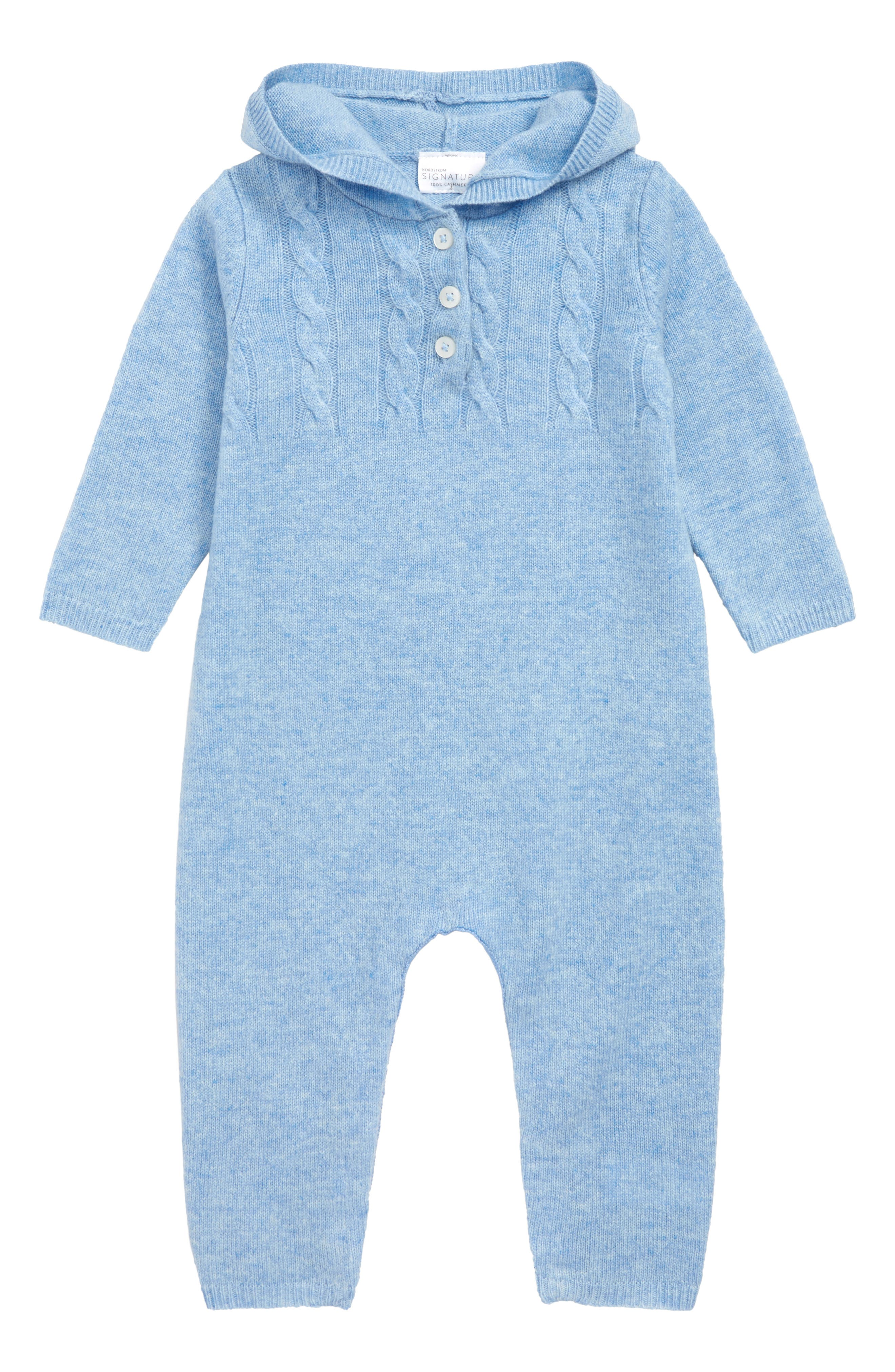 Cashmere Hooded Romper,                         Main,                         color, BLUE WHISPER HEATHER