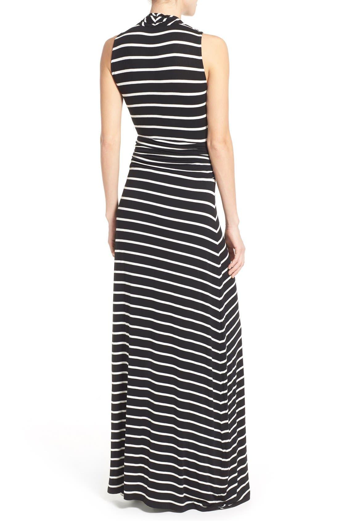 Stripe V-Neck A-Line Maxi Dress,                             Alternate thumbnail 3, color,