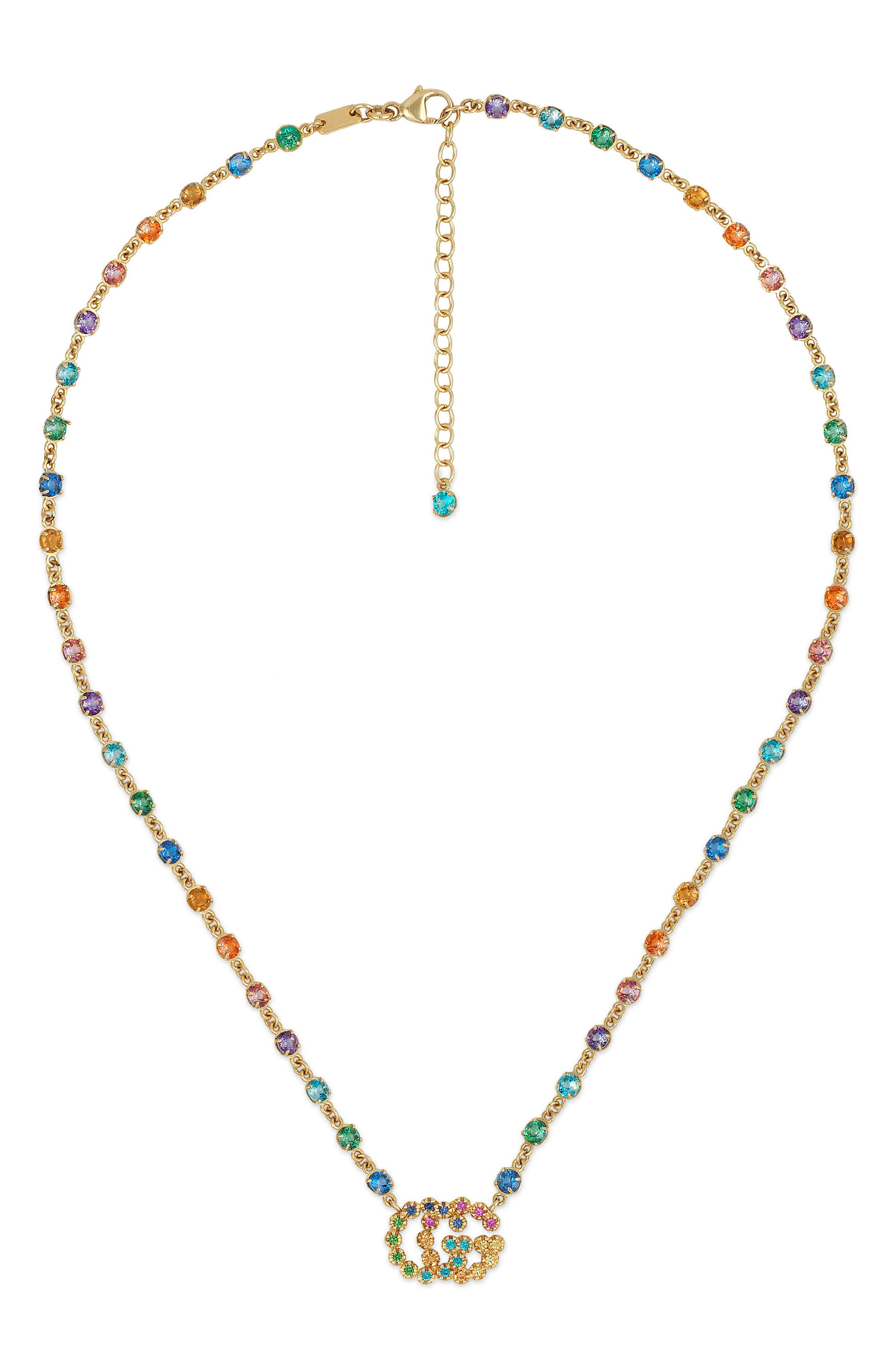 Double-G Multistone Pendant Necklace,                         Main,                         color, YELLOW GOLD