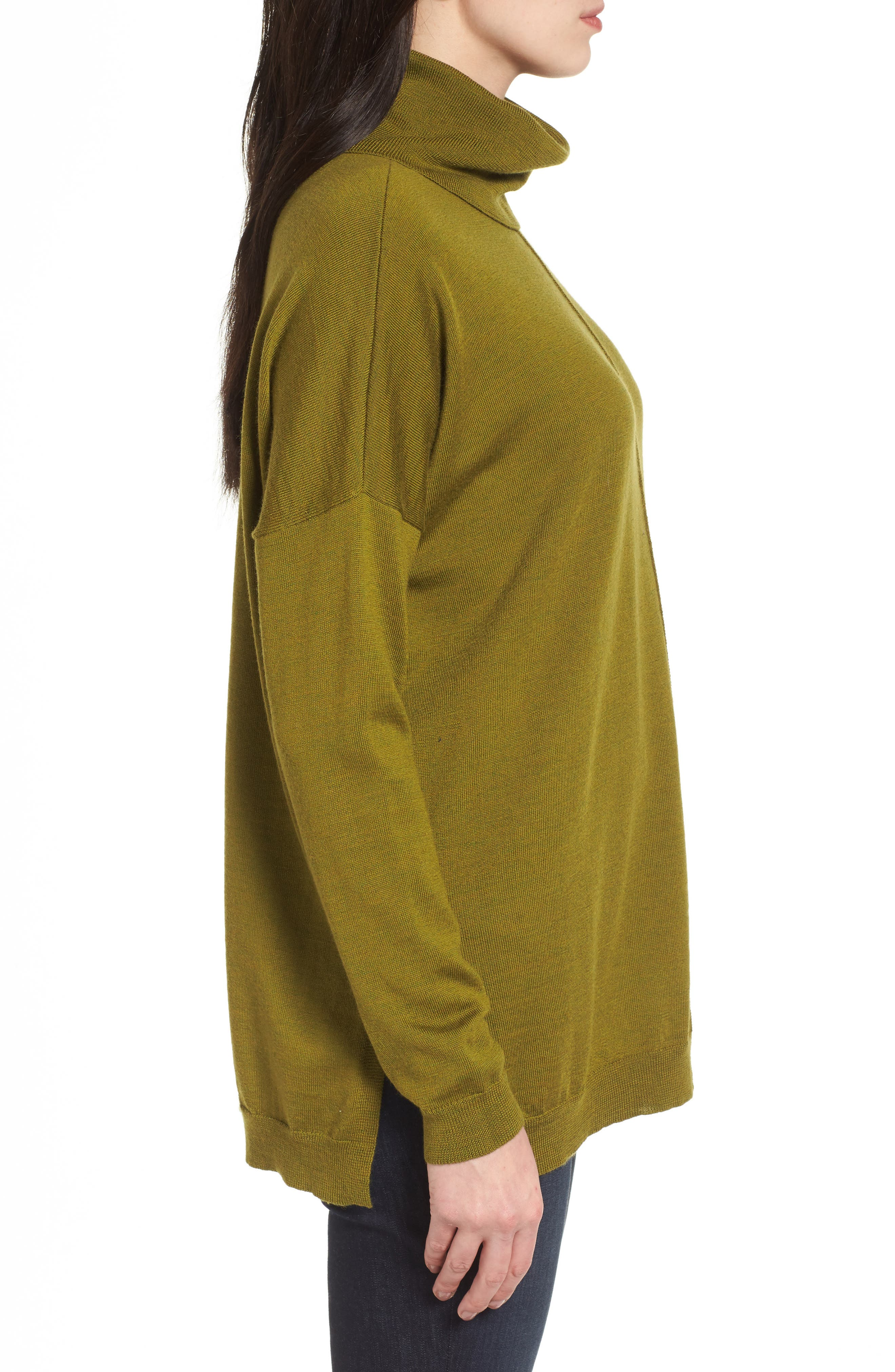 Merino Wool Boxy Turtleneck Sweater,                             Alternate thumbnail 14, color,