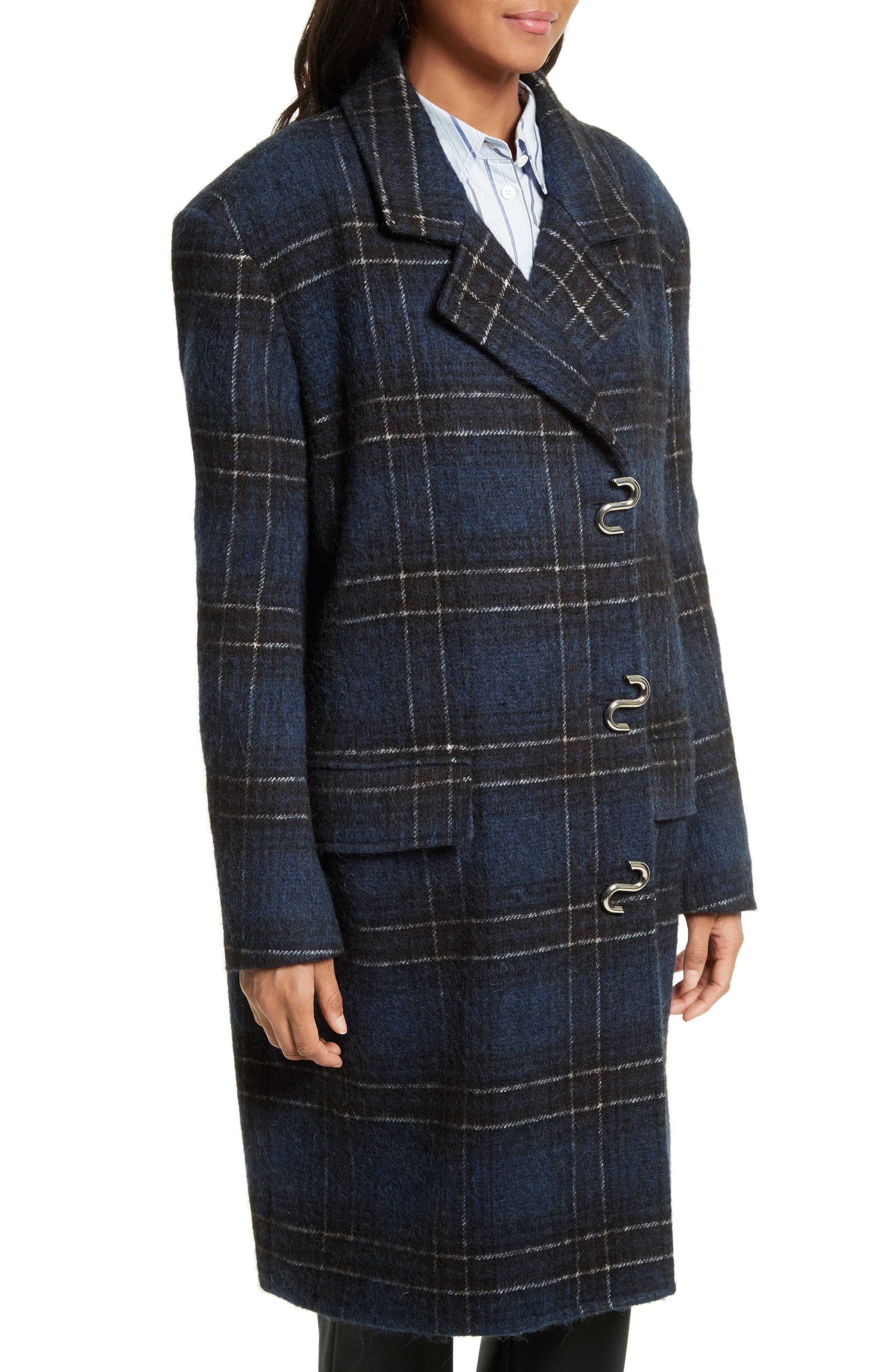 Dominic Plaid Oversize Coat,                             Alternate thumbnail 4, color,                             402