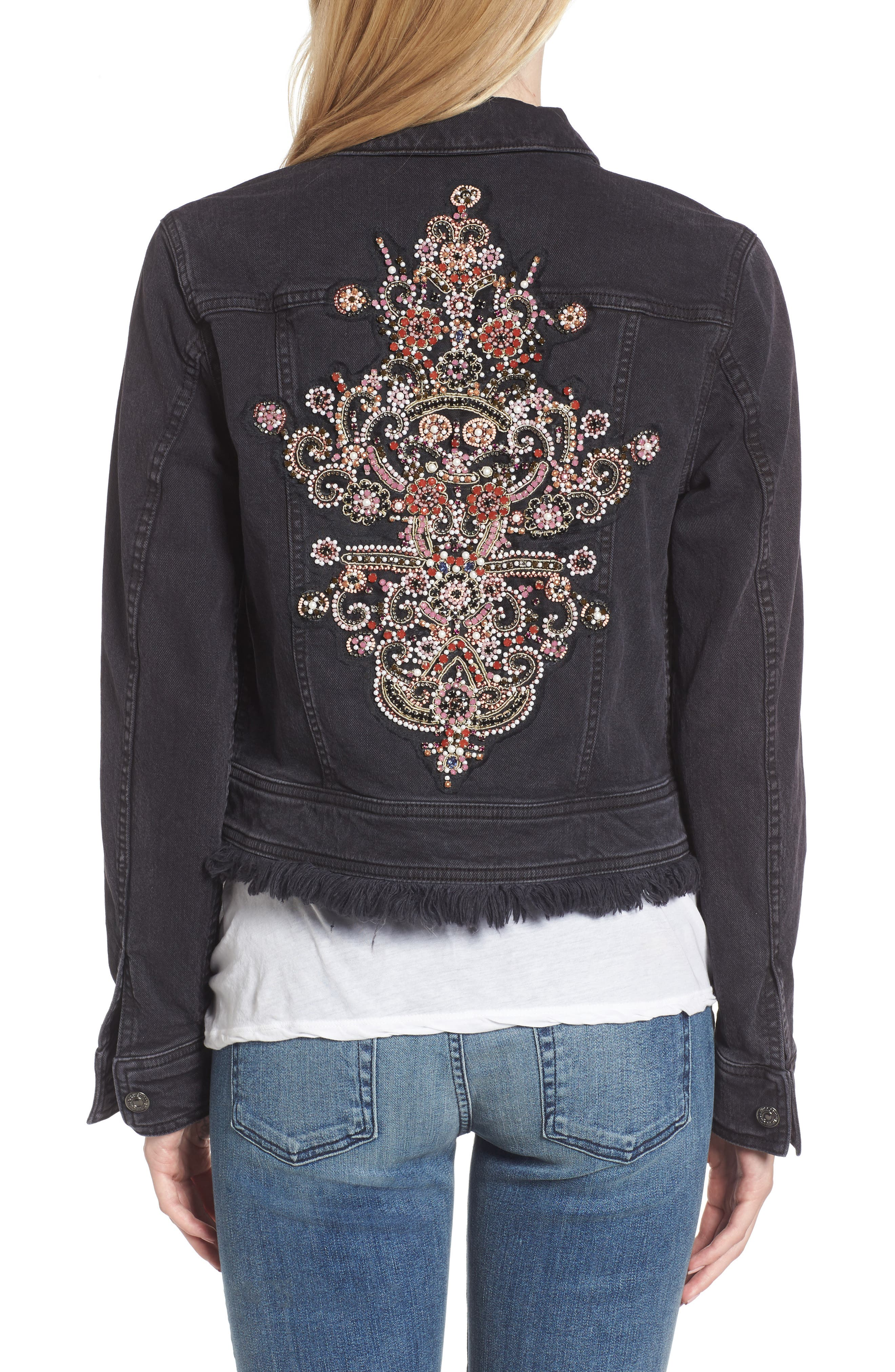 Embellished Boyfriend Denim Jacket,                             Alternate thumbnail 2, color,                             005