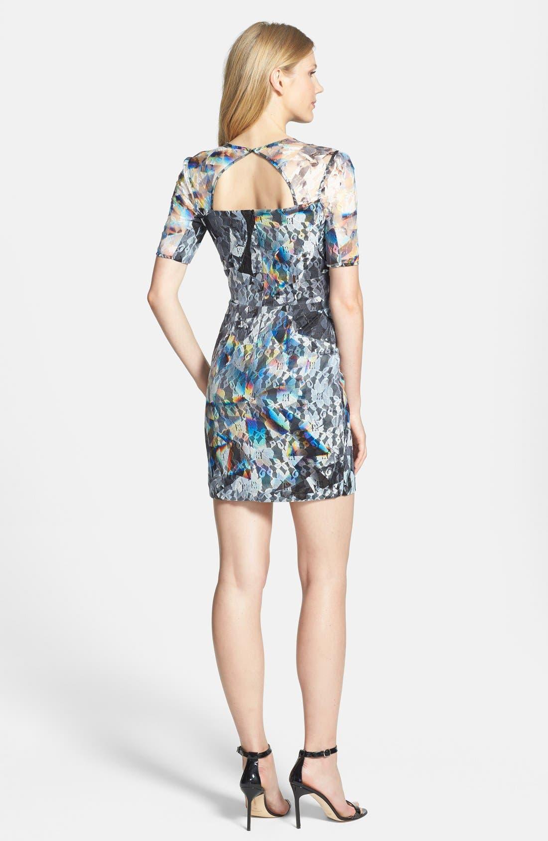 BLACK HALO,                             Print Lace Minidress,                             Alternate thumbnail 2, color,                             001