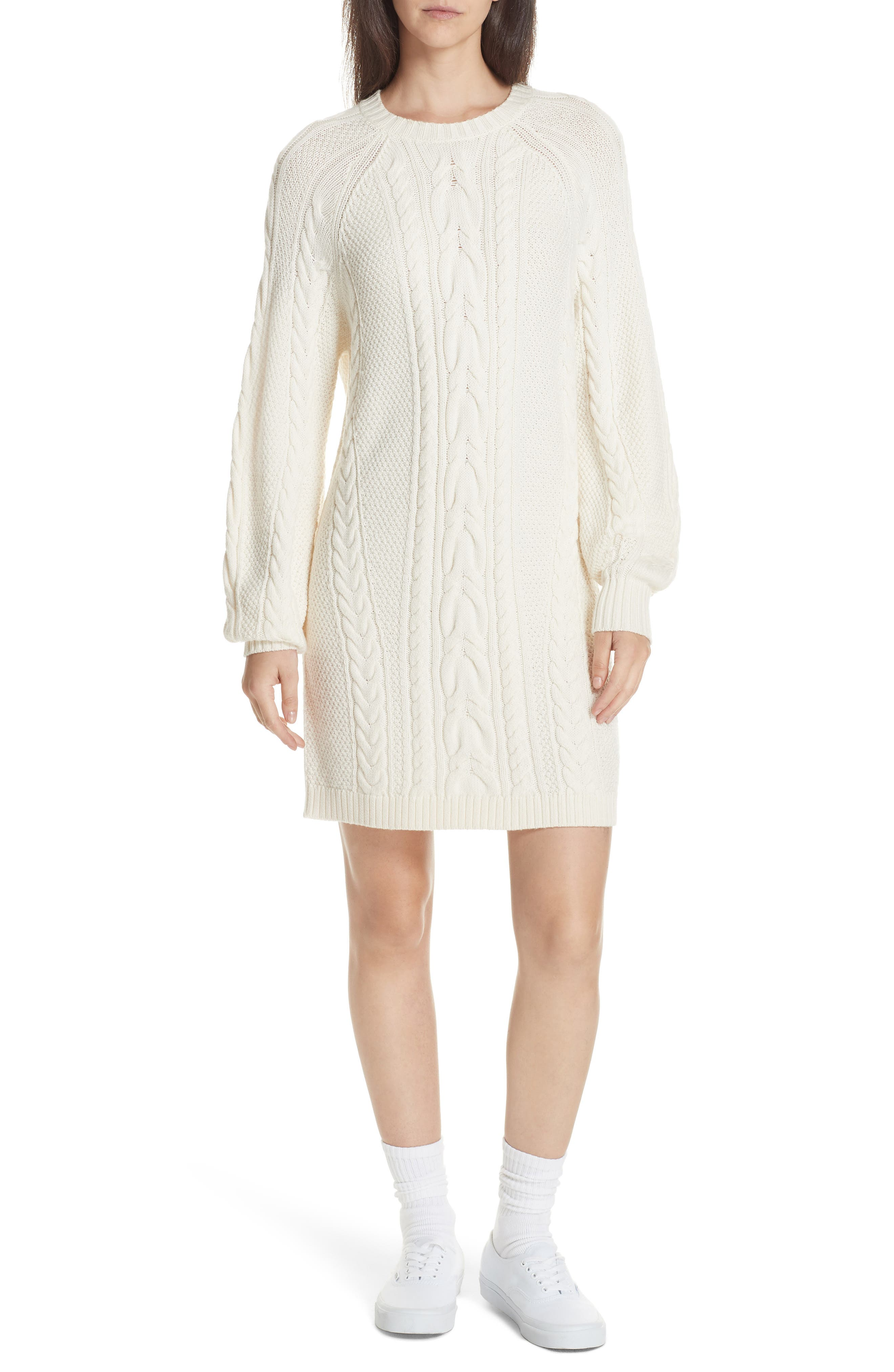 Cable Sweater Dress,                             Main thumbnail 1, color,                             CREAM