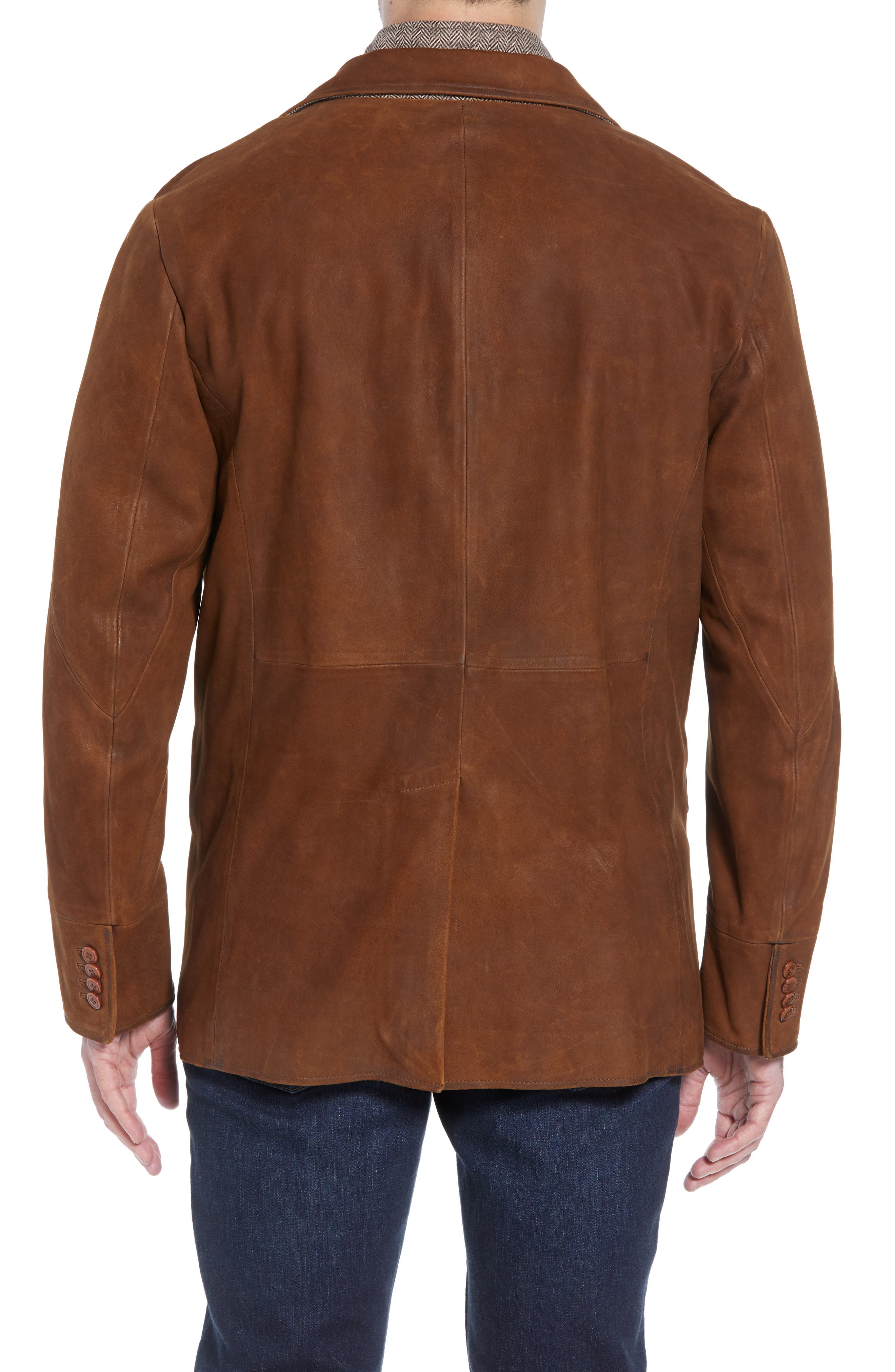 Classic Fit Distressed Leather Hybrid Coat,                             Alternate thumbnail 3, color,                             BROWN