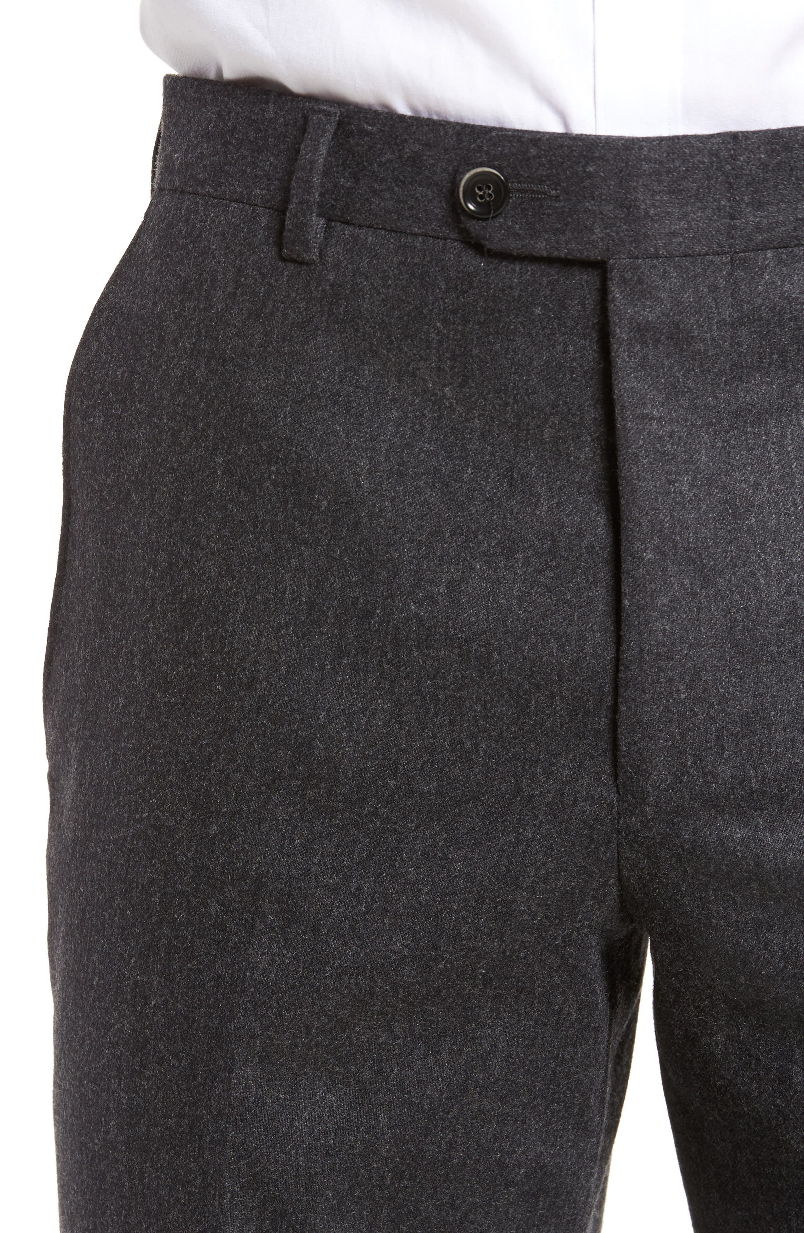 Classic B Fit Flat Front Solid Wool Blend Trousers,                             Alternate thumbnail 5, color,