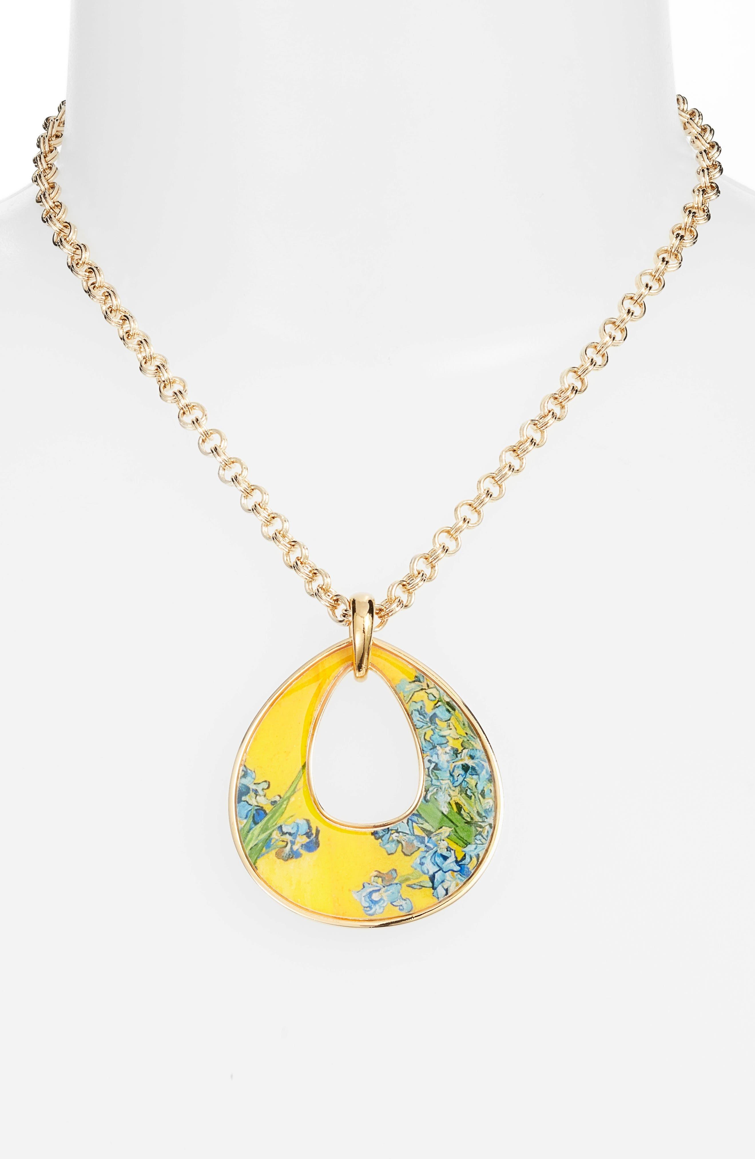 Irises Open Teardrop Pendant Necklace,                             Alternate thumbnail 3, color,                             MULTI